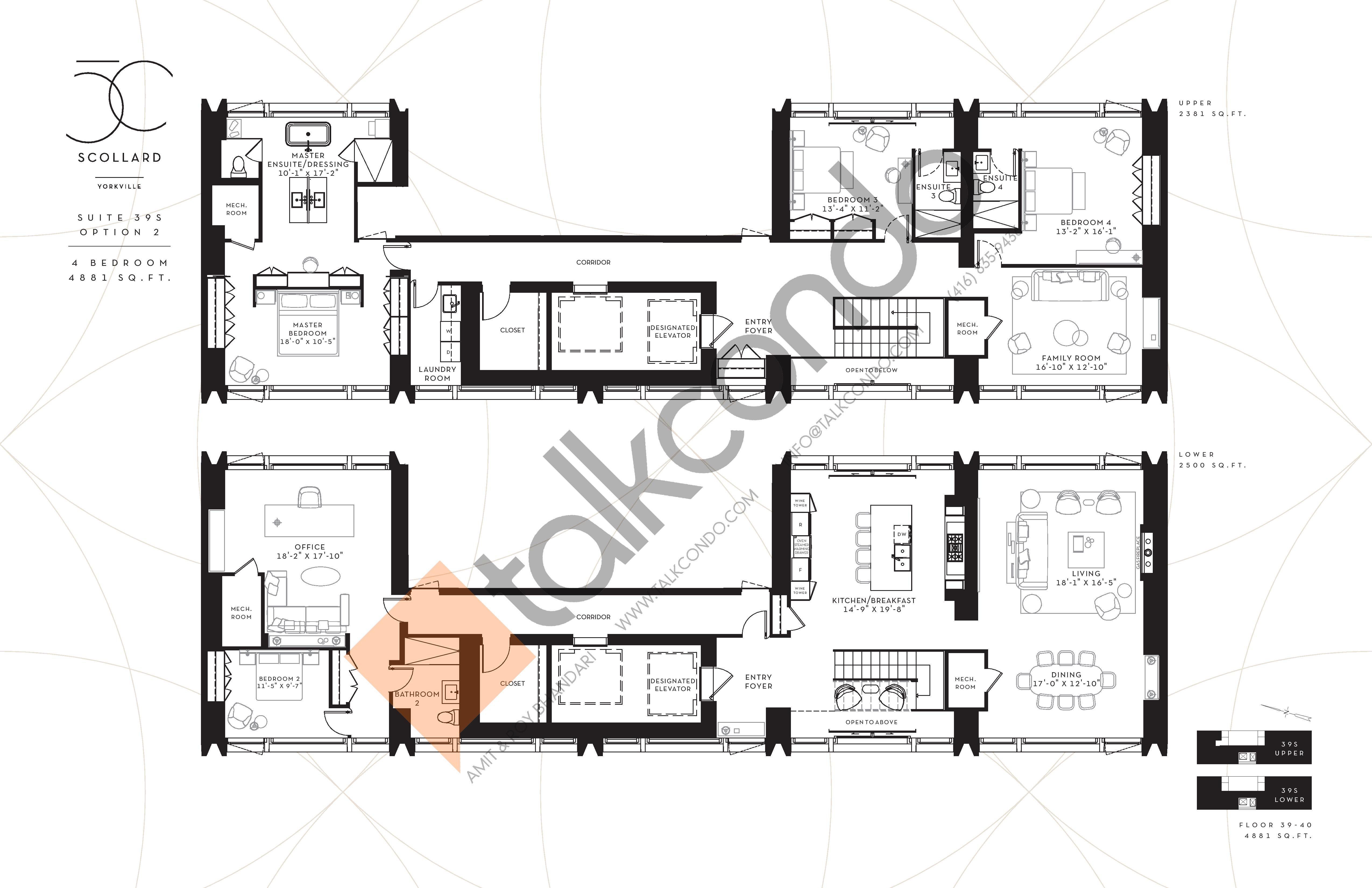 Suite 39S Option 2 Floor Plan at Fifty Scollard Condos - 4881 sq.ft