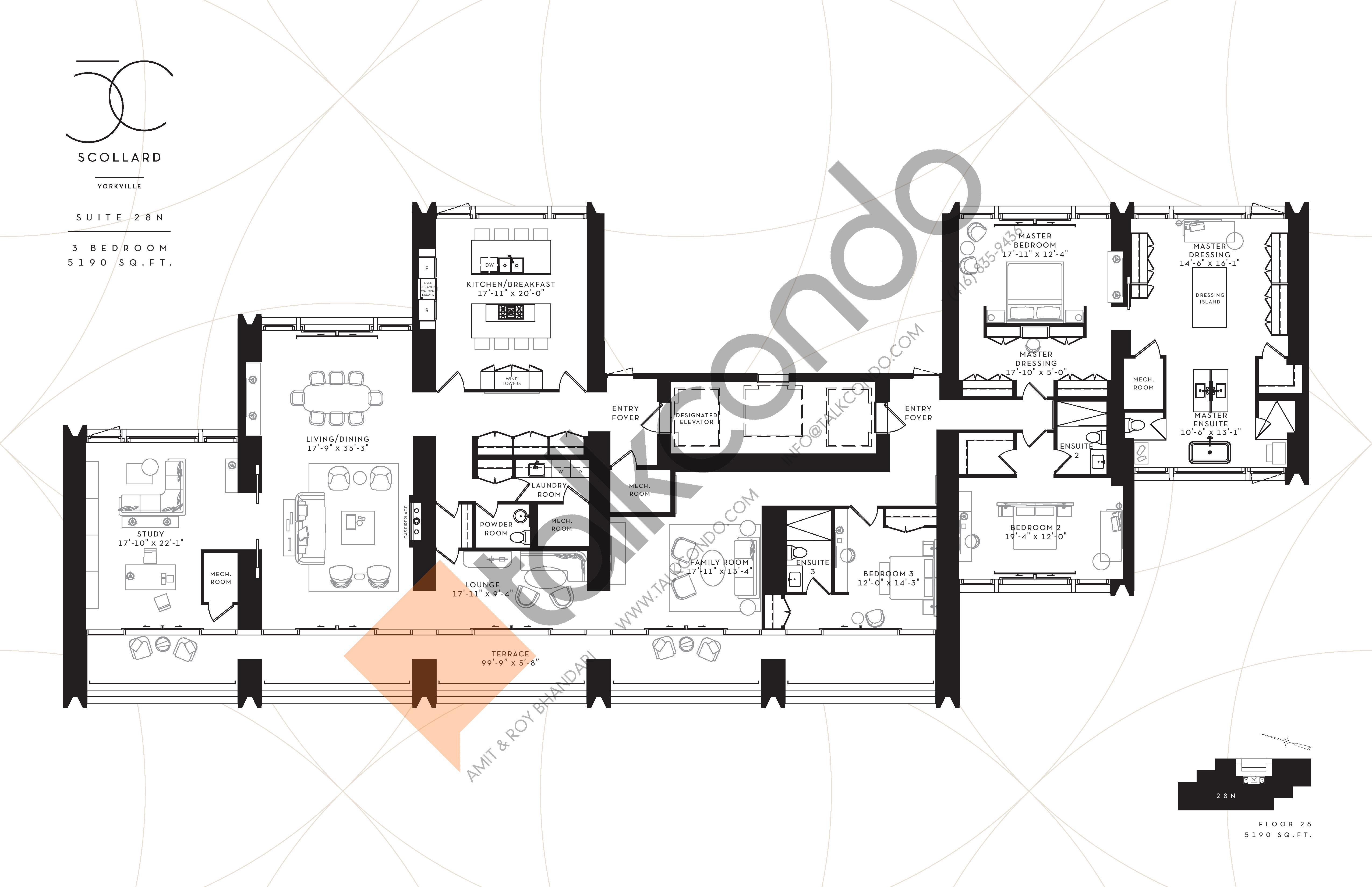 Suite 28N Floor Plan at Fifty Scollard Condos - 5190 sq.ft