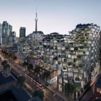 Exterior Rendering for KING Toronto Condos looking south towards CN Tower