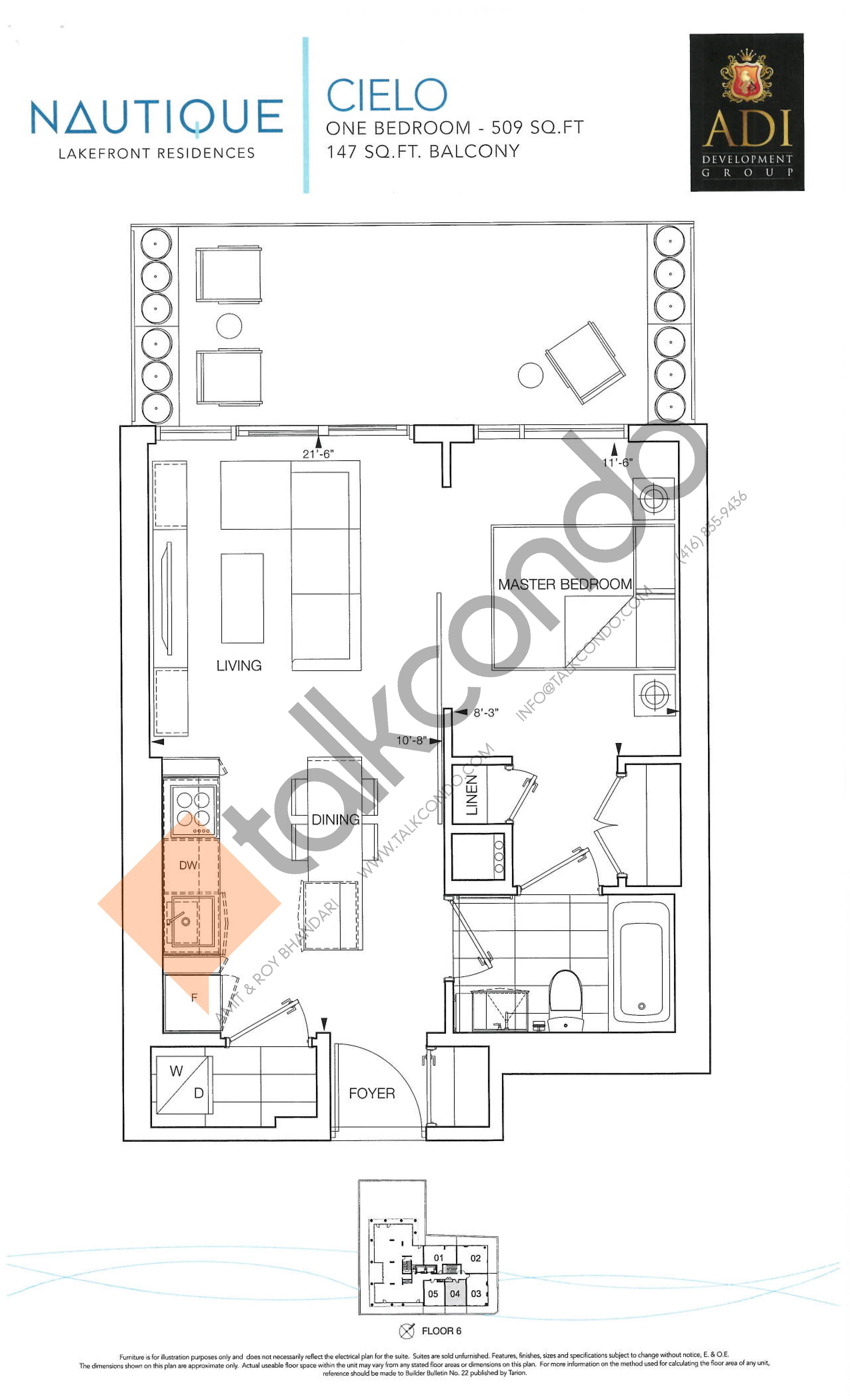 Cielo Floor Plan at Nautique Lakefront Residences - 509 sq.ft