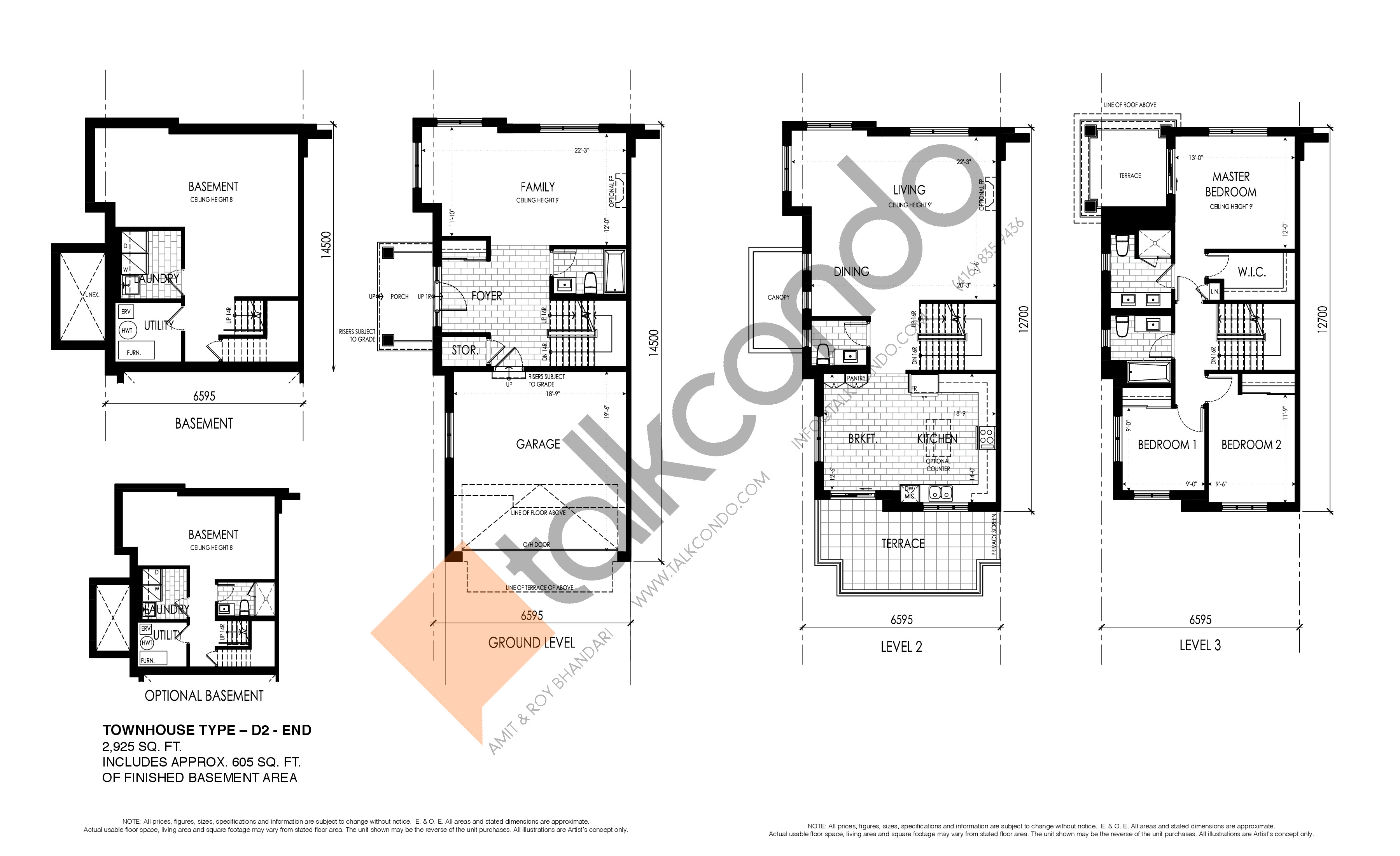 D2 - End Floor Plan at Pavilia Park Towns - 2925 sq.ft