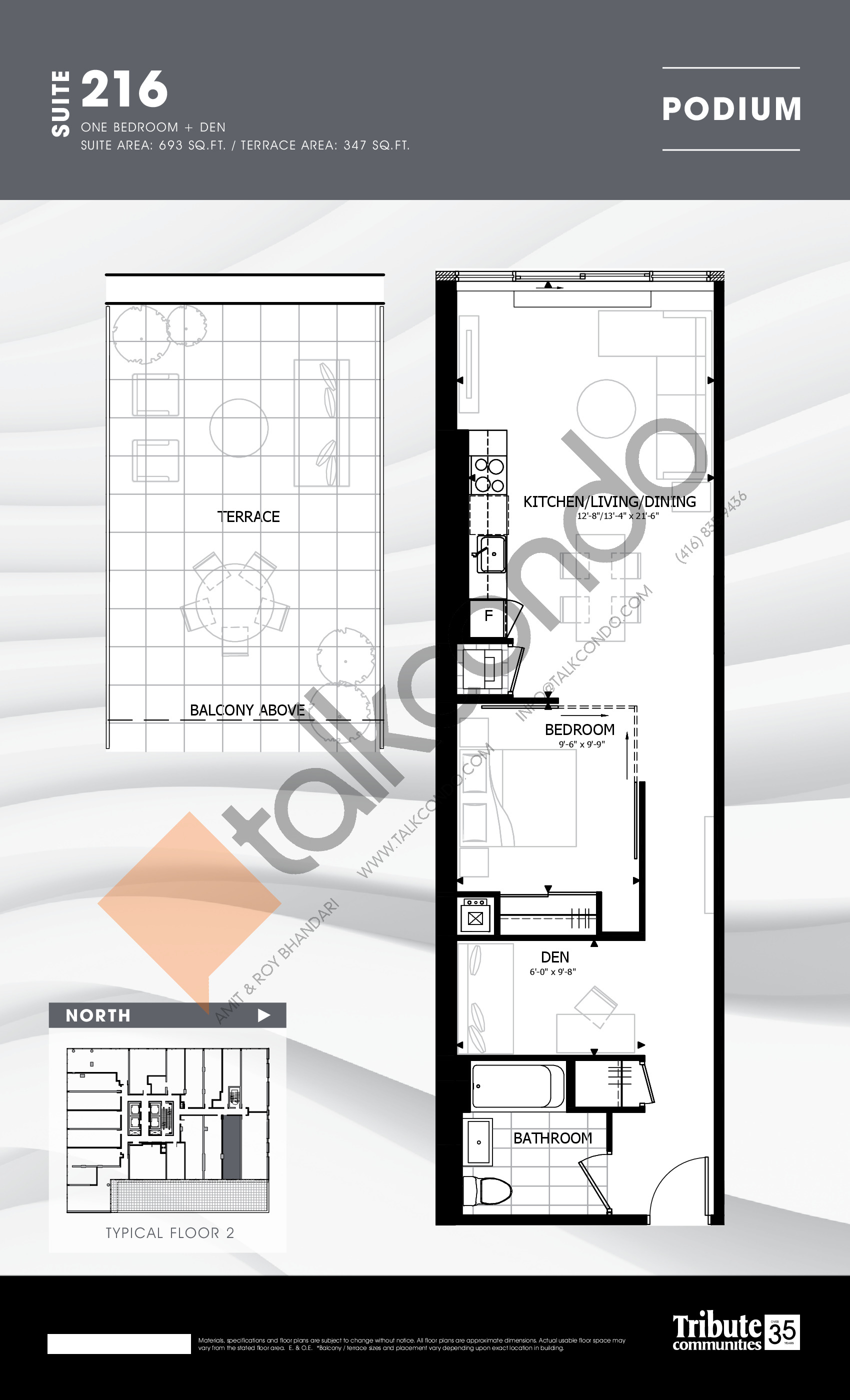 216 Floor Plan at Stanley Condos - 693 sq.ft