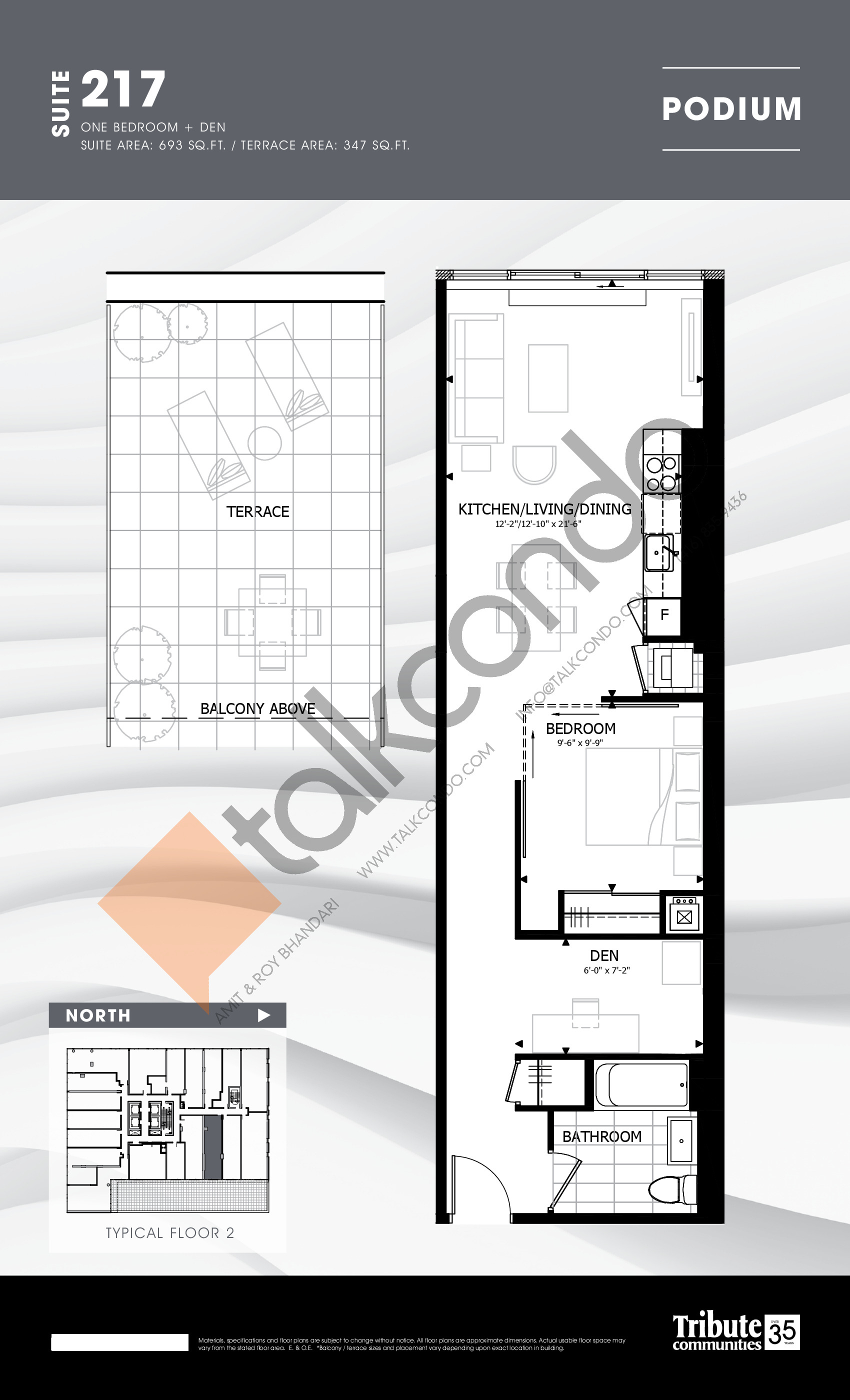 217 Floor Plan at Stanley Condos - 693 sq.ft