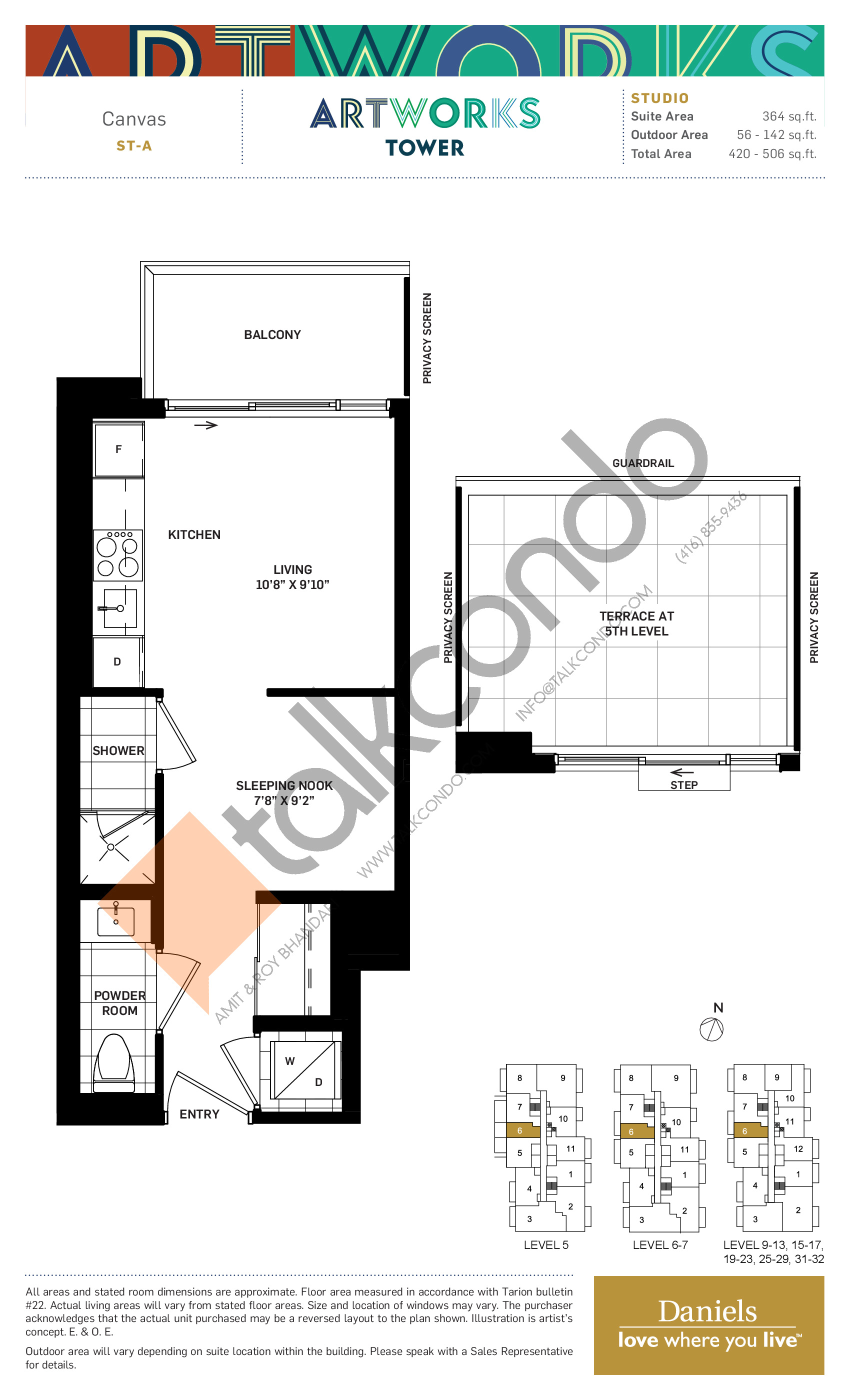 Canvas Floor Plan at Artworks Tower Condos - 364 sq.ft