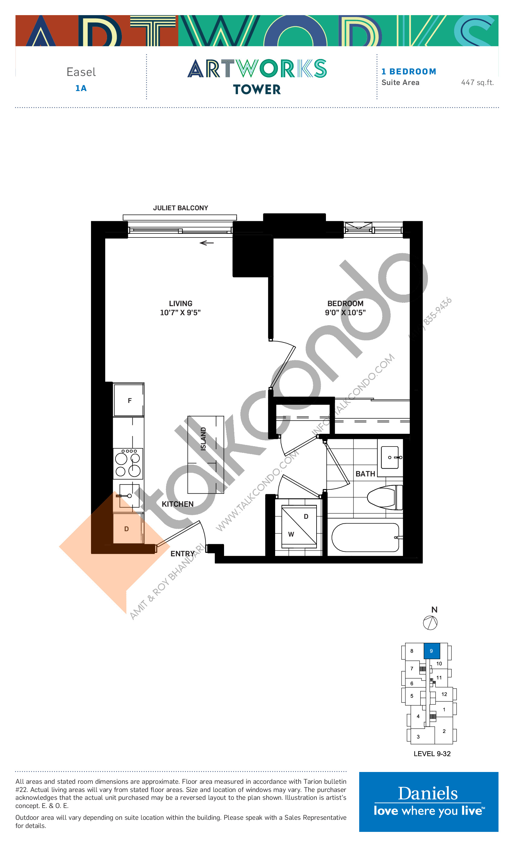Easel Floor Plan at Artworks Tower Condos - 447 sq.ft