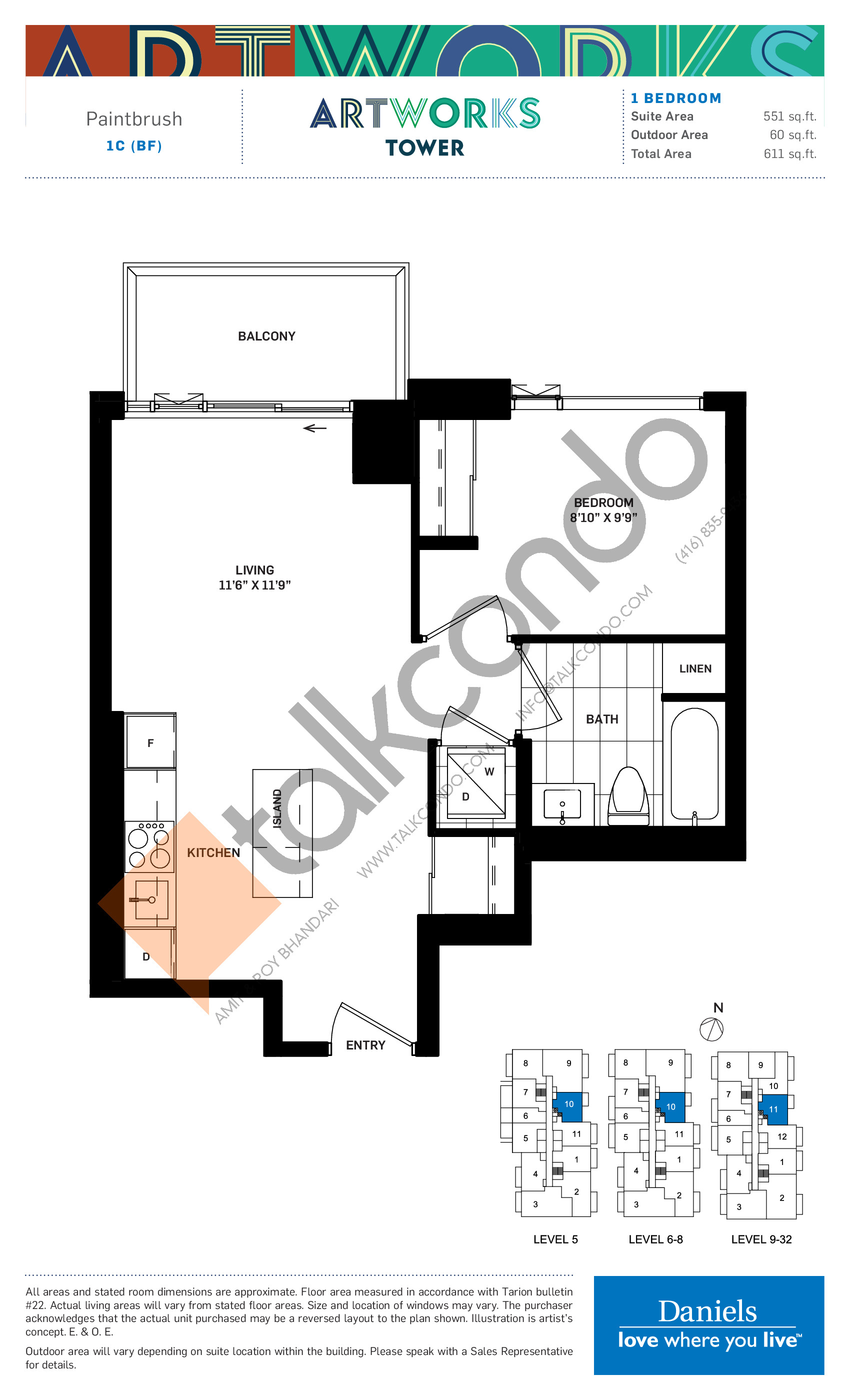 Paintbrush Floor Plan at Artworks Tower Condos - 551 sq.ft