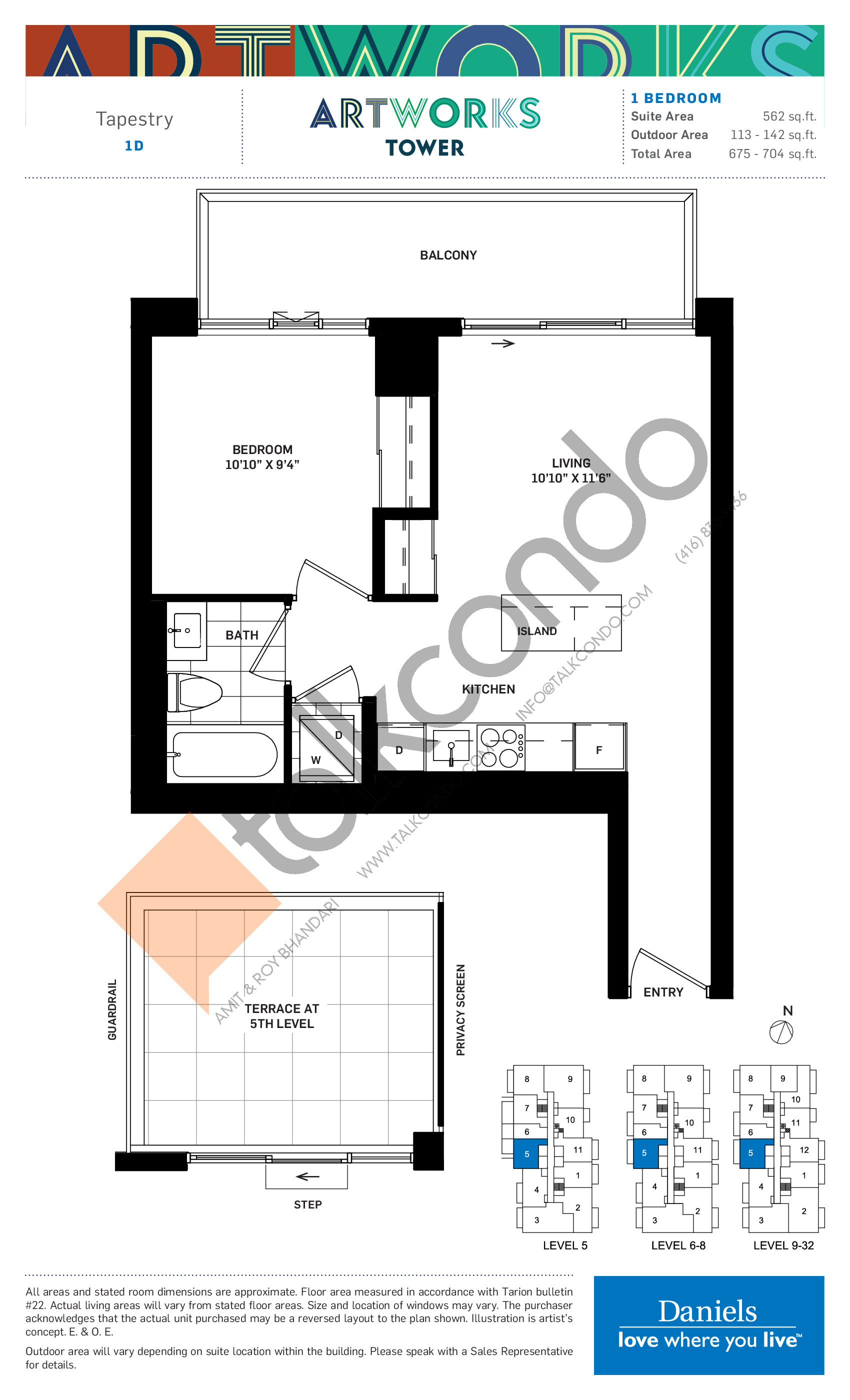 Tapestry Floor Plan at Artworks Tower Condos - 562 sq.ft