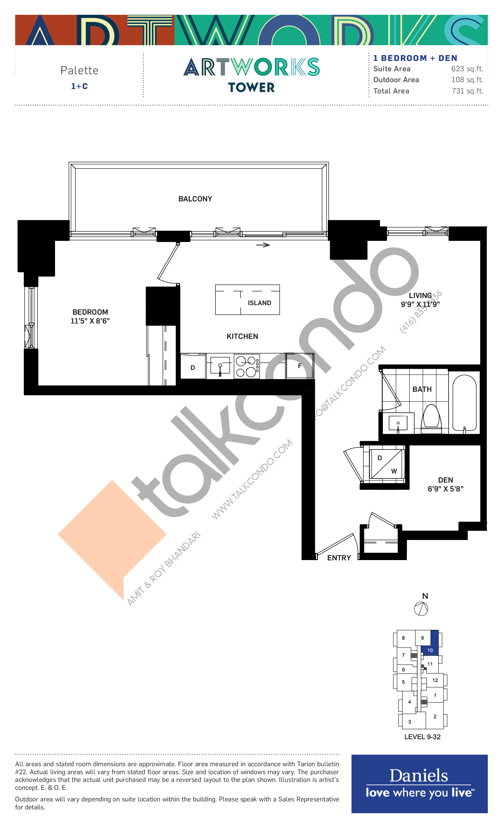Palette Floor Plan at Artworks Tower Condos - 623 sq.ft