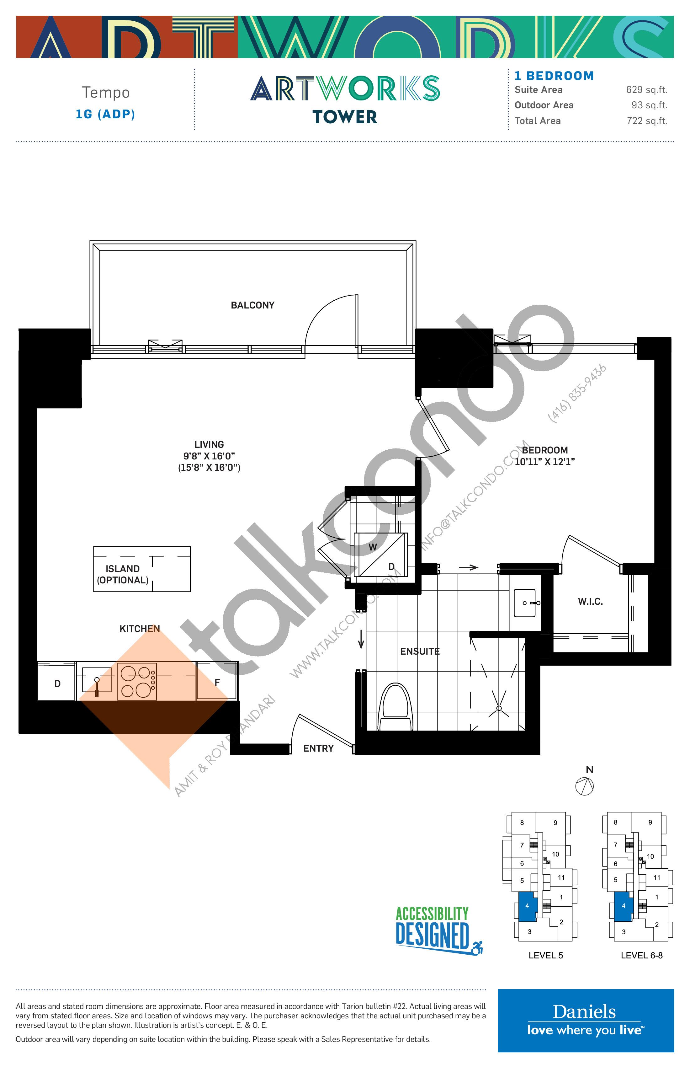 Tempo Floor Plan at Artworks Tower Condos - 629 sq.ft