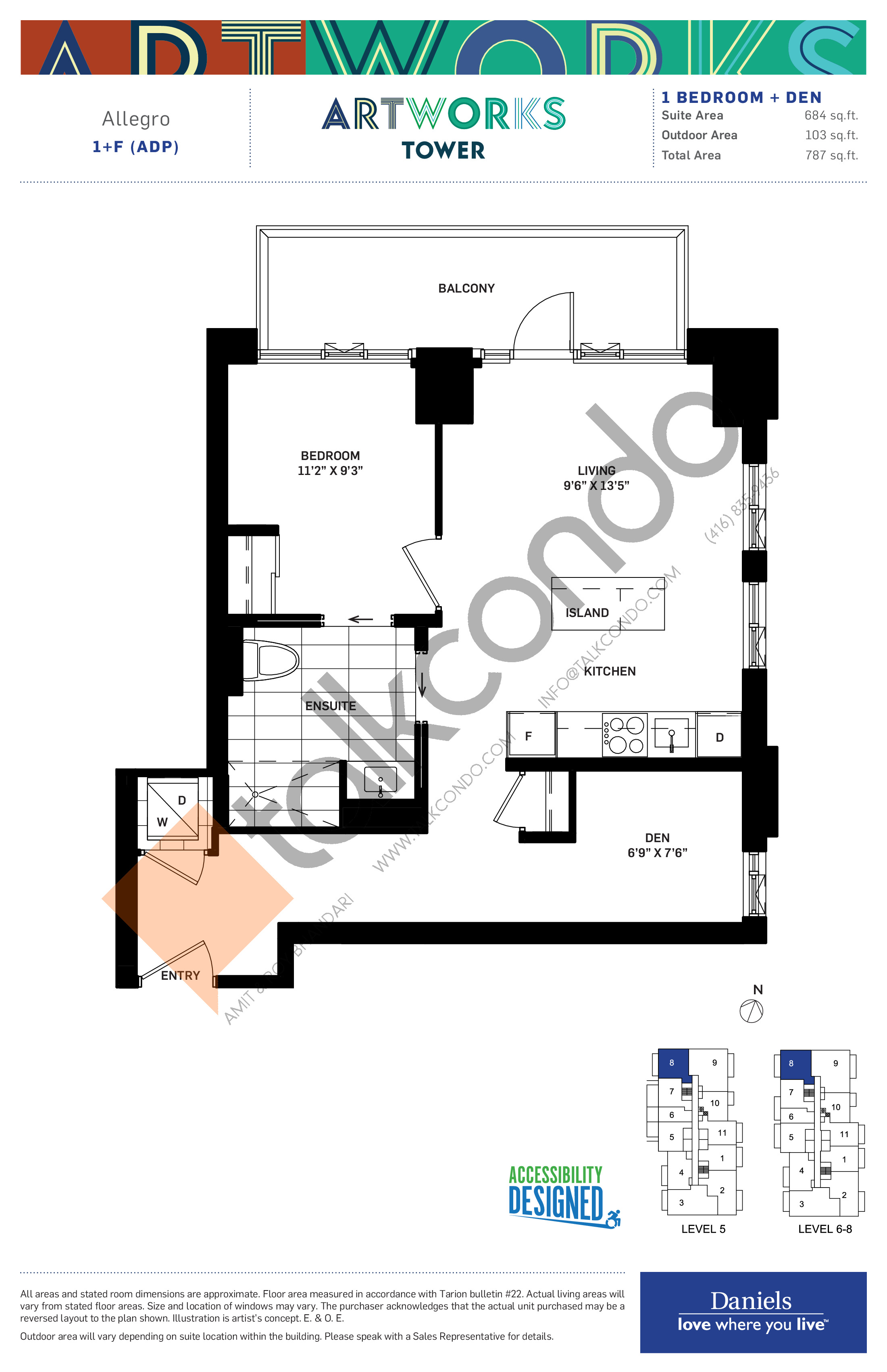 Allegro Floor Plan at Artworks Tower Condos - 684 sq.ft