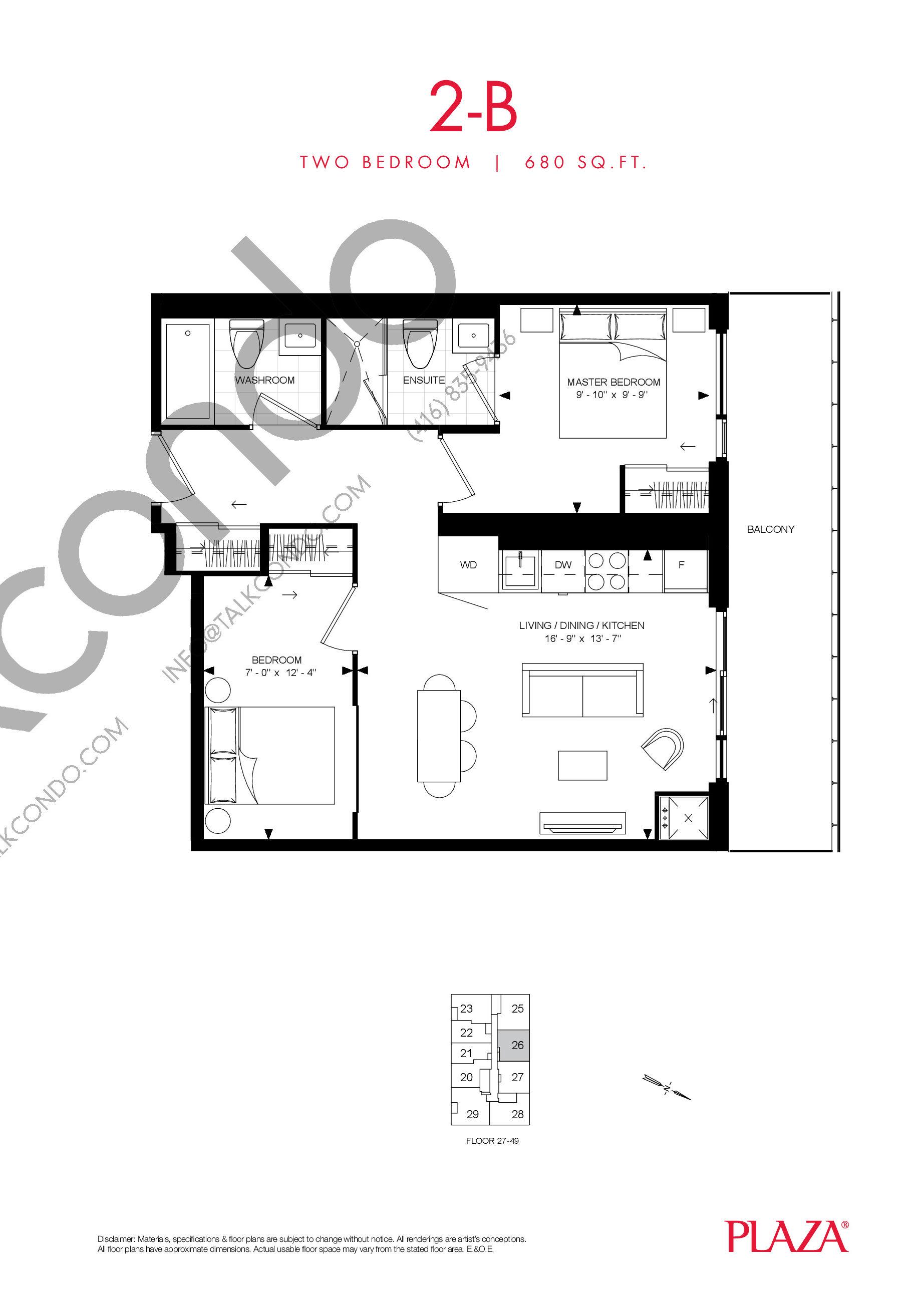 2-B Floor Plan at Encore Theatre District Condos - 680 sq.ft