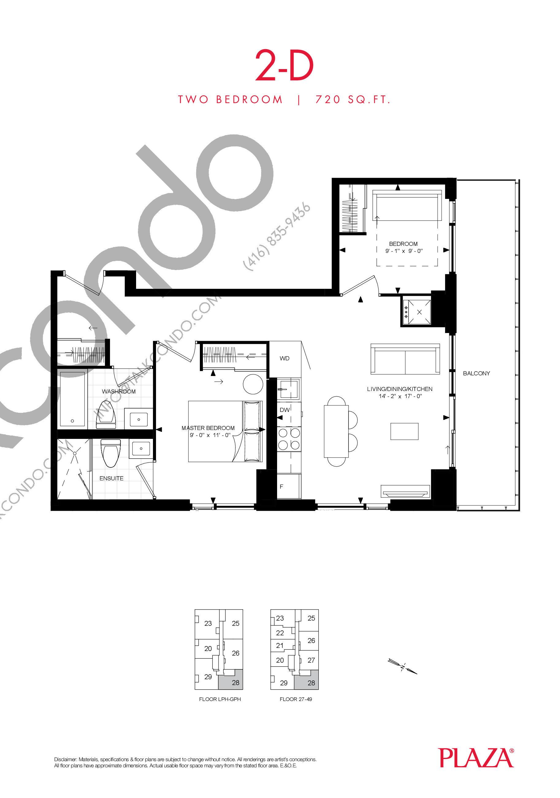 2-D Floor Plan at Encore Theatre District Condos - 720 sq.ft