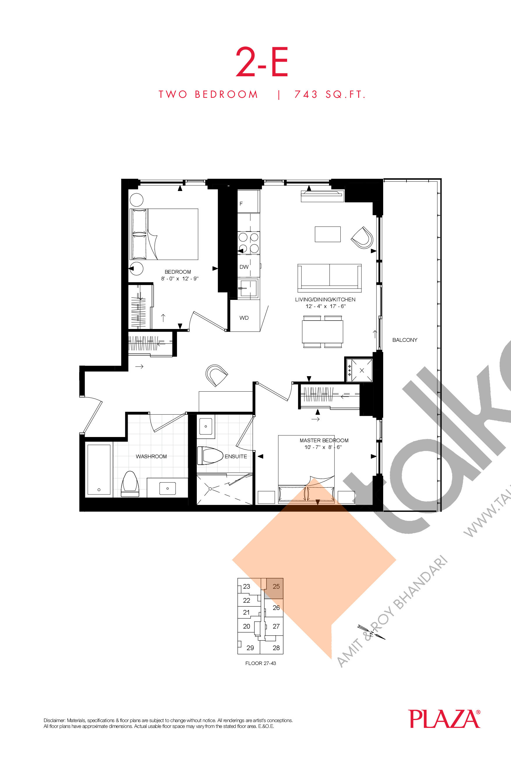 2-E Floor Plan at Encore Theatre District Condos - 743 sq.ft