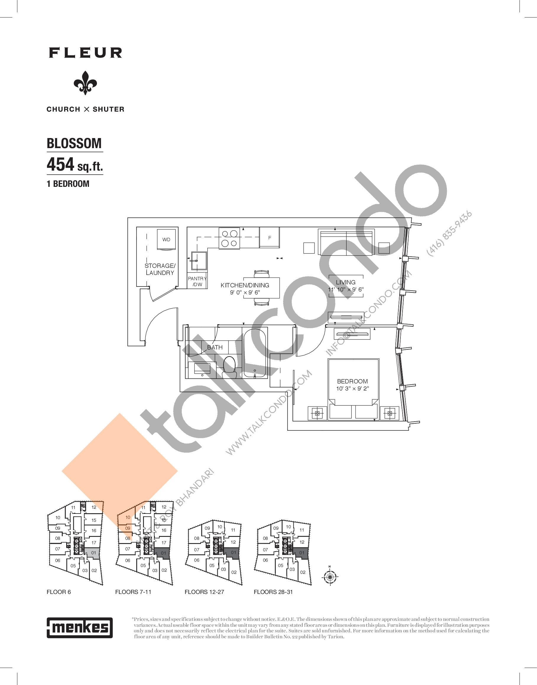 Blossom Floor Plan at Fleur Condos - 454 sq.ft