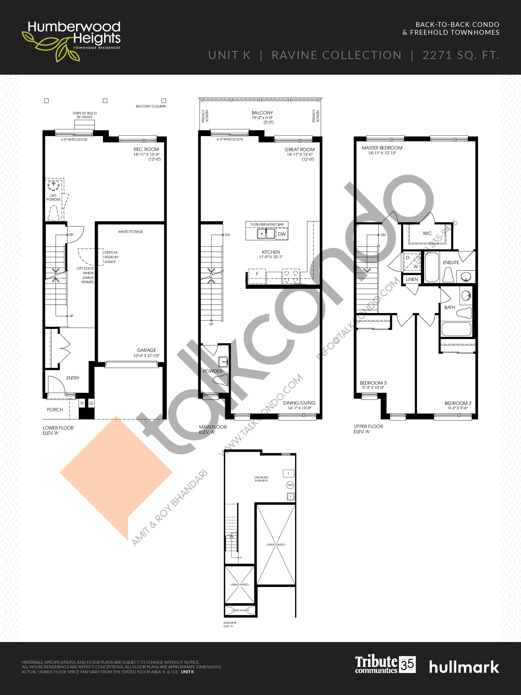 Unit K - Ravine Collection Floor Plan at Humberwood Heights - 2271 sq.ft
