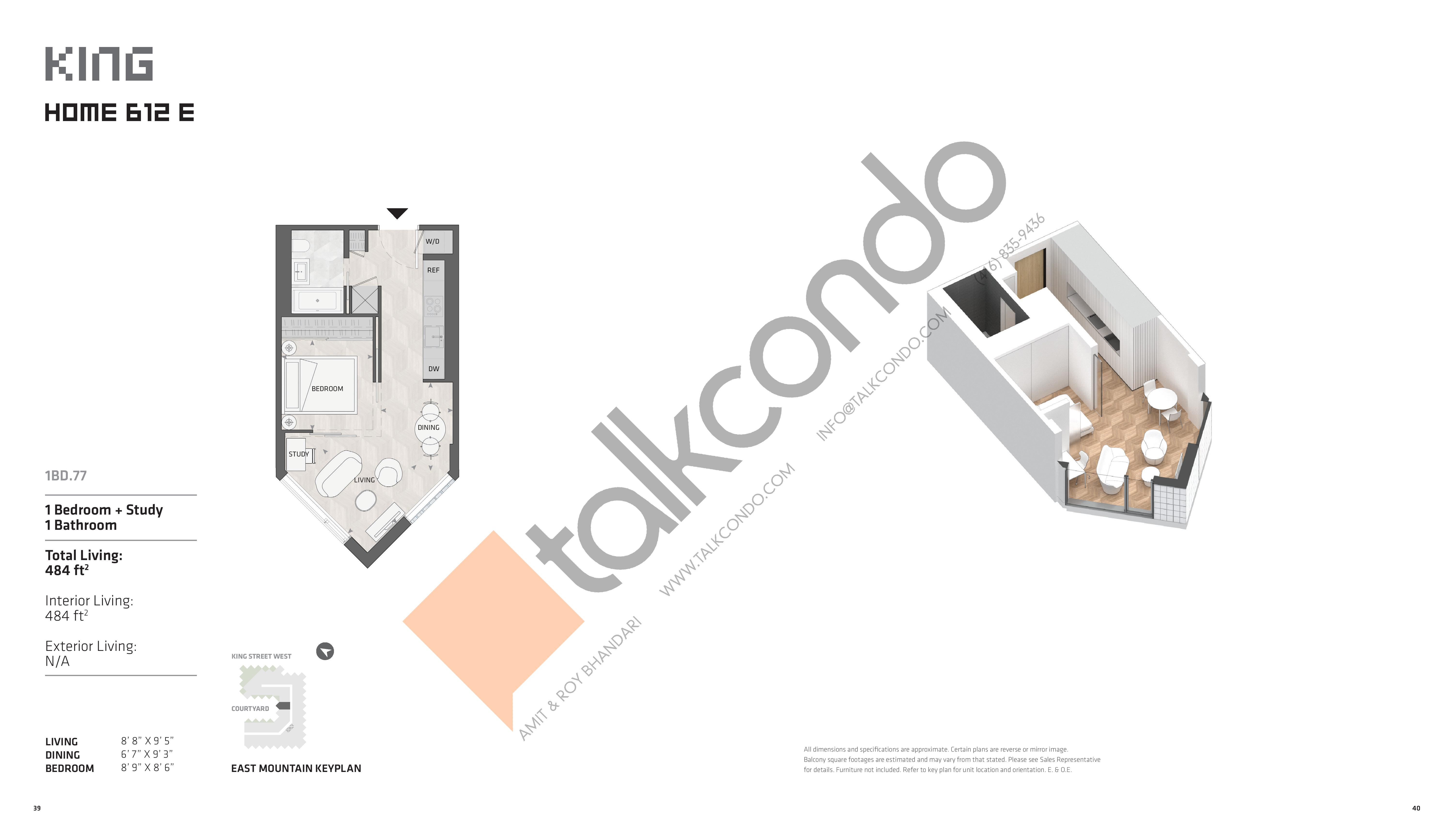 Home 612 E - East Tower Floor Plan at KING Toronto Condos - 484 sq.ft
