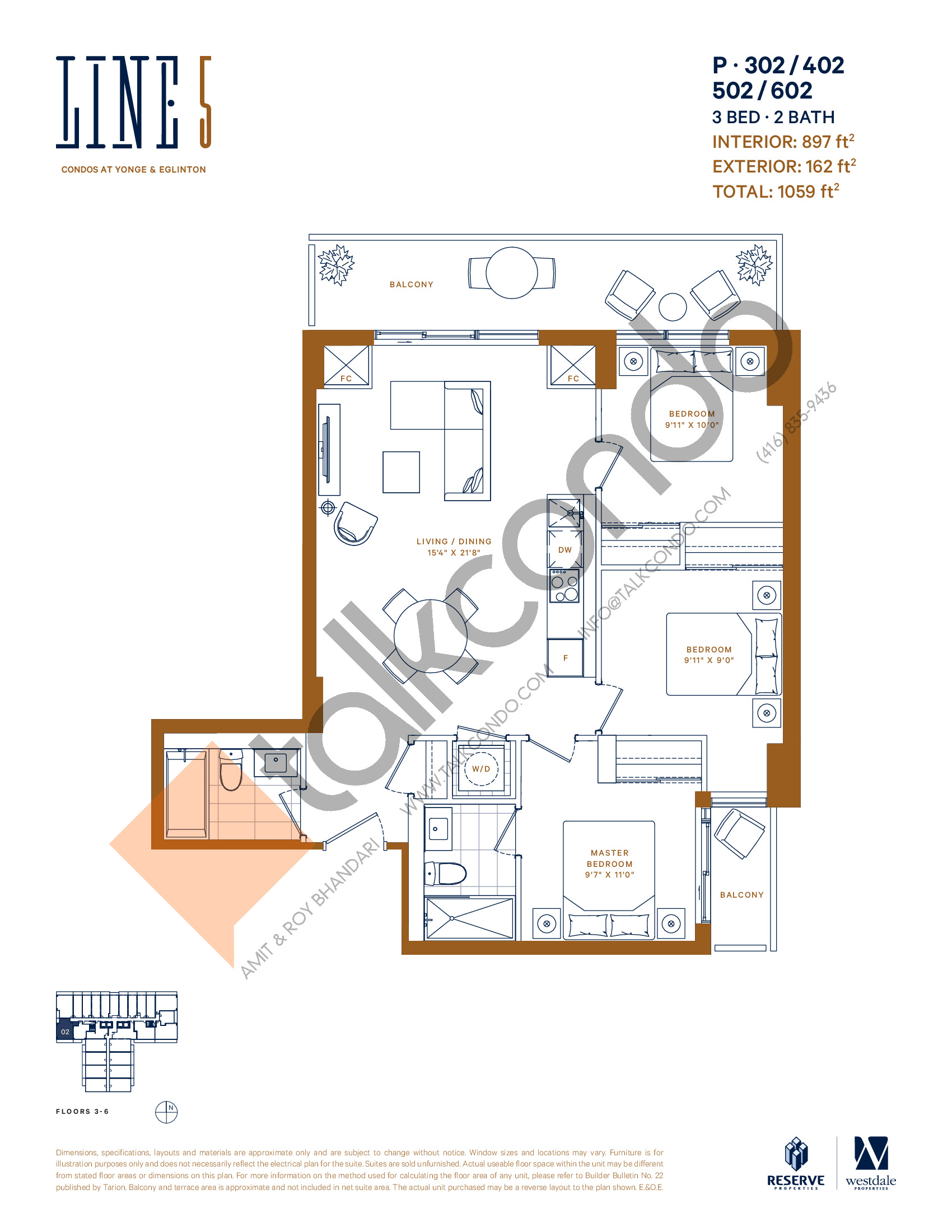 P-302 / 402 / 502 / 602 Floor Plan at Line 5 Condos - 897 sq.ft