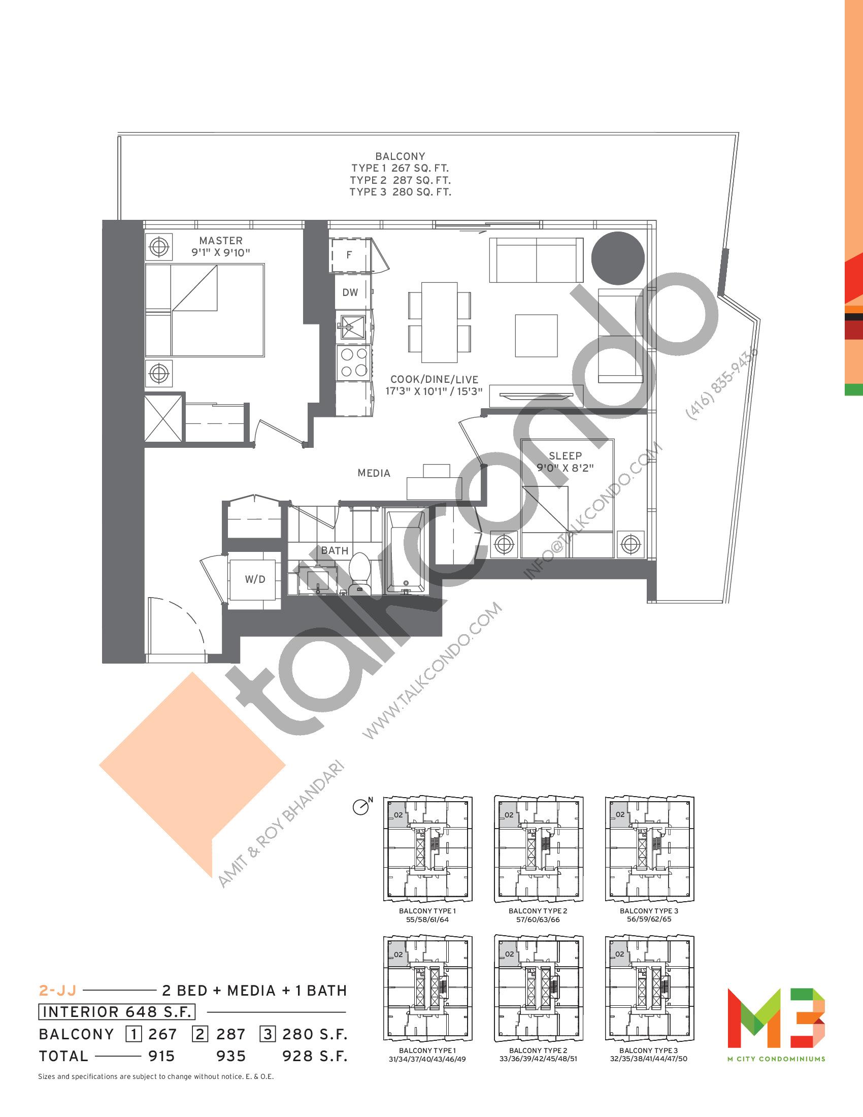 2-JJ Floor Plan at M3 Condos - 648 sq.ft