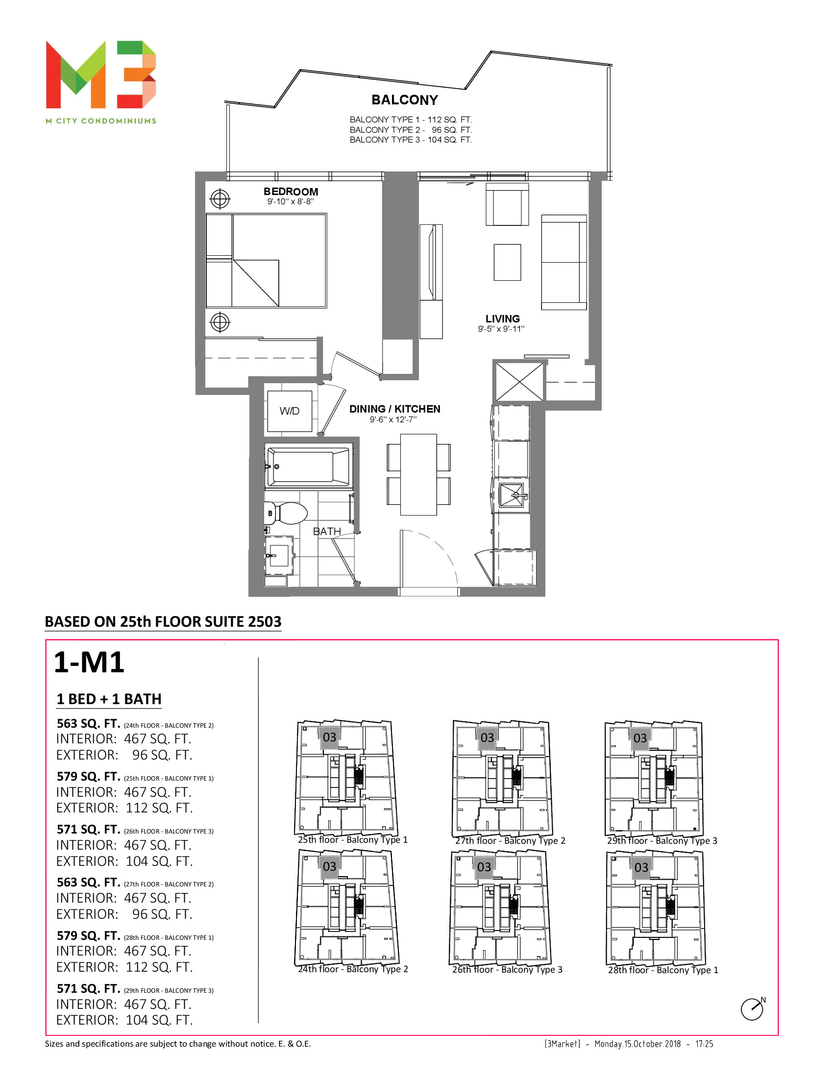 1-M1 Floor Plan at M3 Condos - 467 sq.ft
