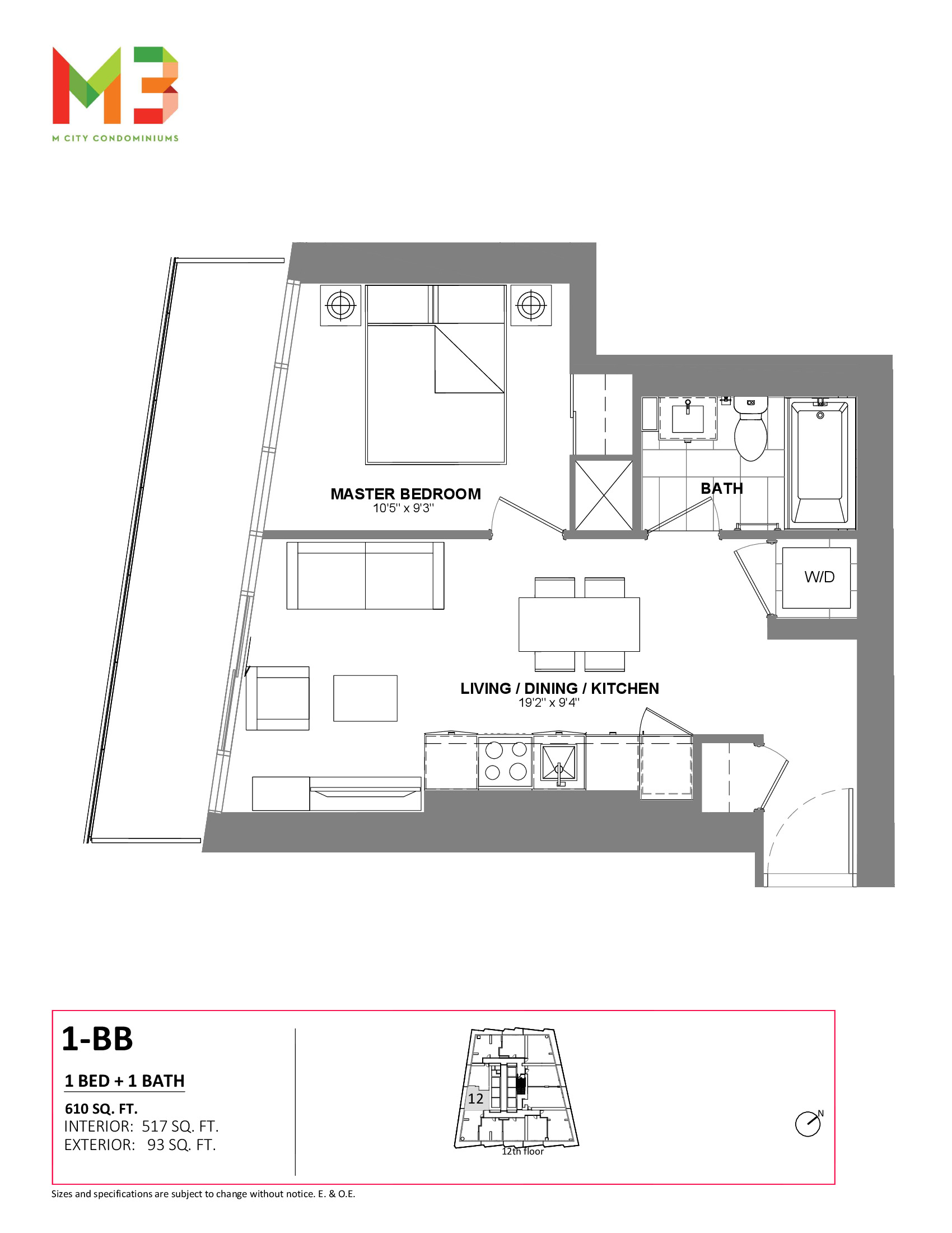 1-BB Floor Plan at M3 Condos - 517 sq.ft
