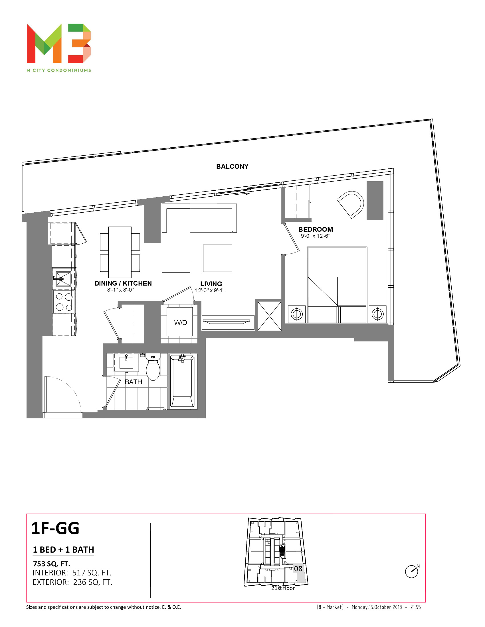 1F-GG Floor Plan at M3 Condos - 517 sq.ft