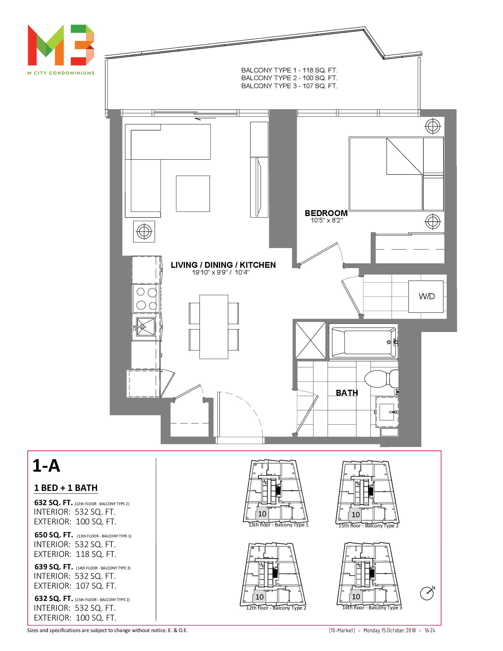 1-A Floor Plan at M3 Condos - 532 sq.ft