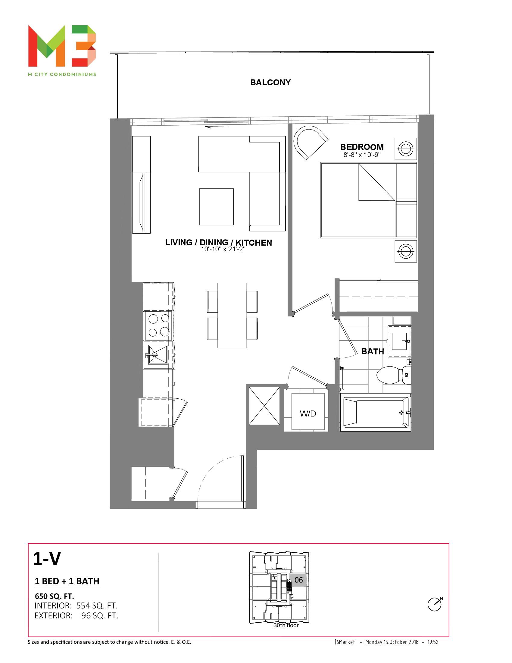 1-V Floor Plan at M3 Condos - 554 sq.ft