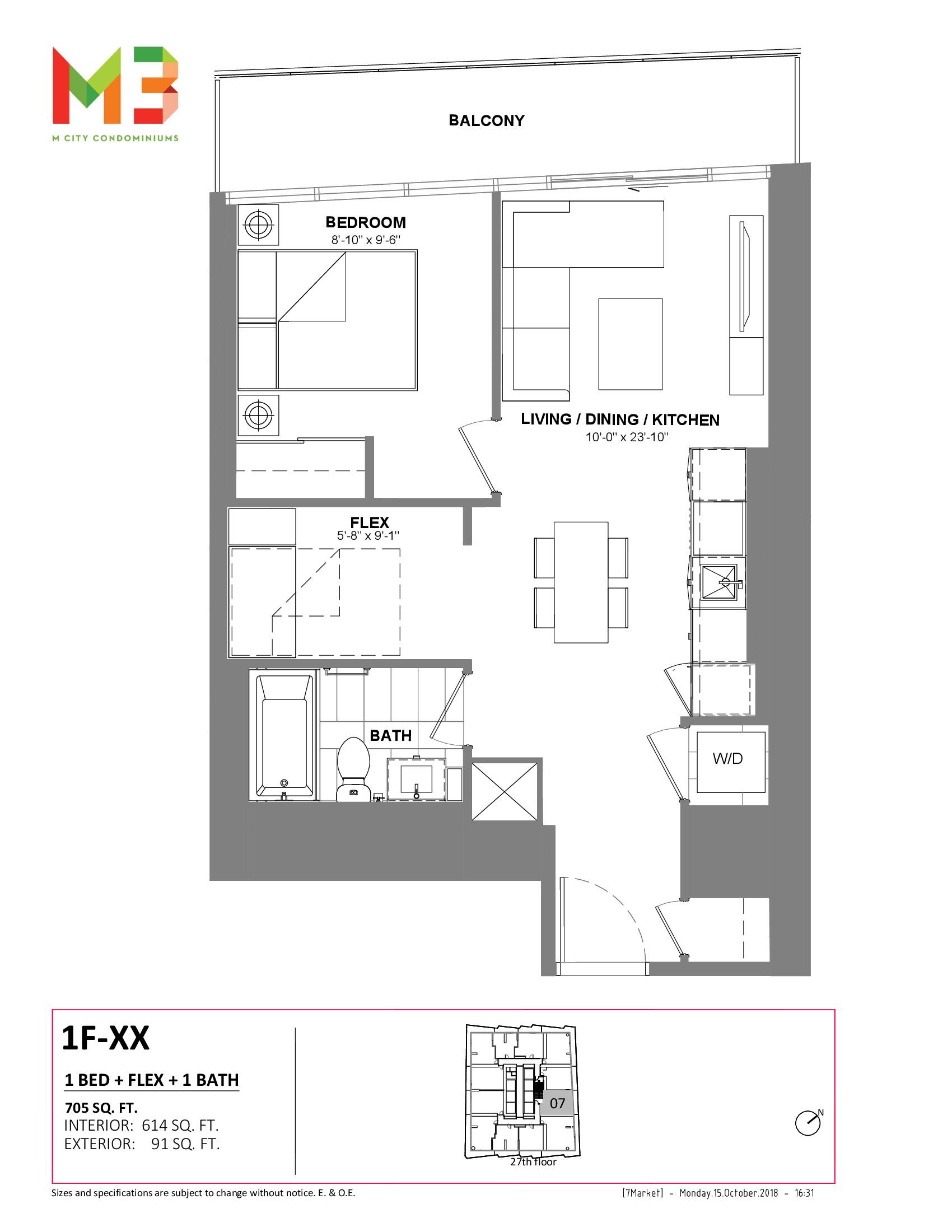 1F-XX Floor Plan at M3 Condos - 614 sq.ft