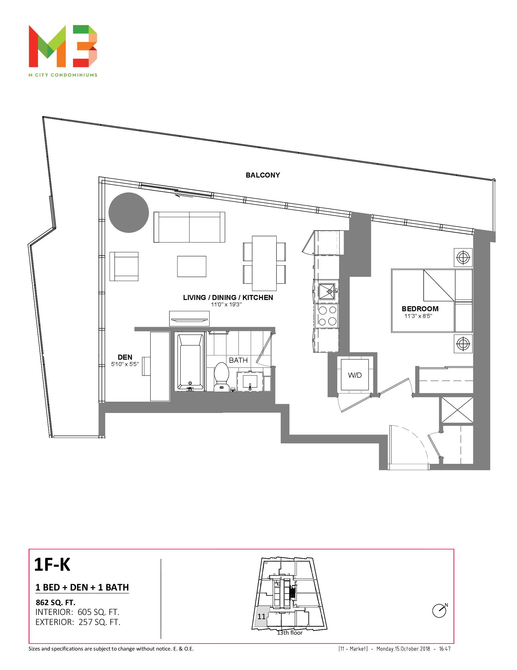 1F-K Floor Plan at M3 Condos - 605 sq.ft