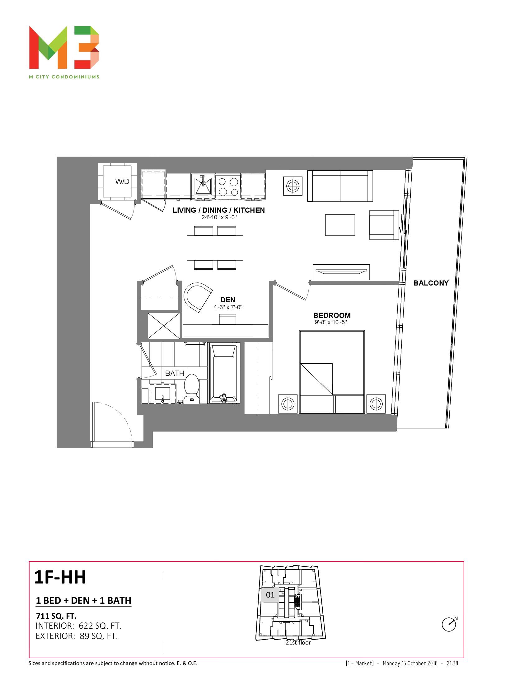 1F-HH Floor Plan at M3 Condos - 622 sq.ft