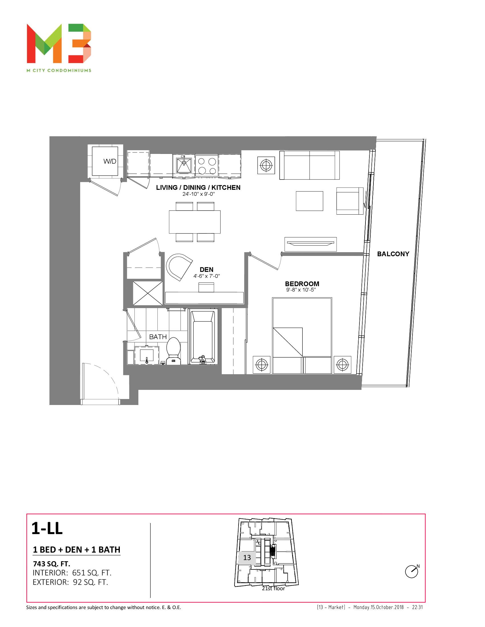 1-LL Floor Plan at M3 Condos - 651 sq.ft