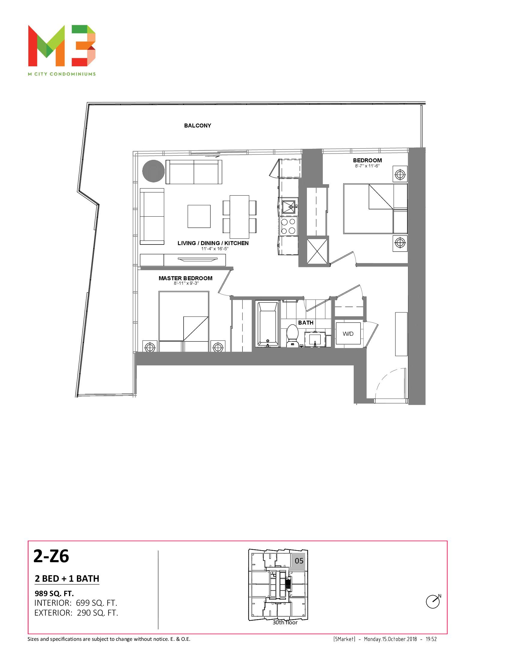 2-Z6 Floor Plan at M3 Condos - 699 sq.ft