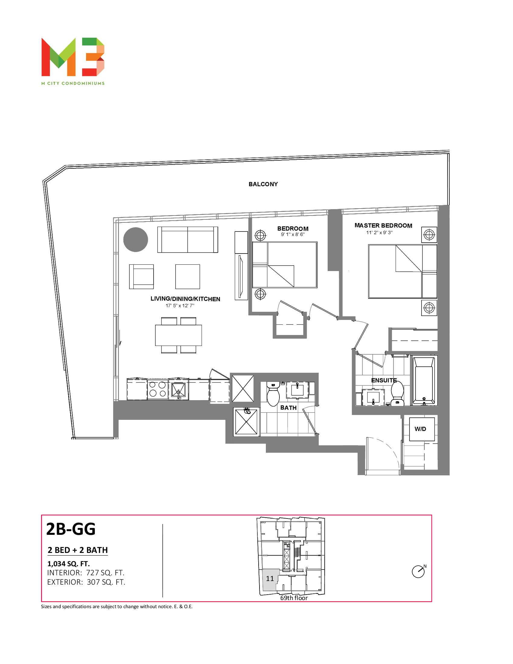 2B-GG Floor Plan at M3 Condos - 727 sq.ft