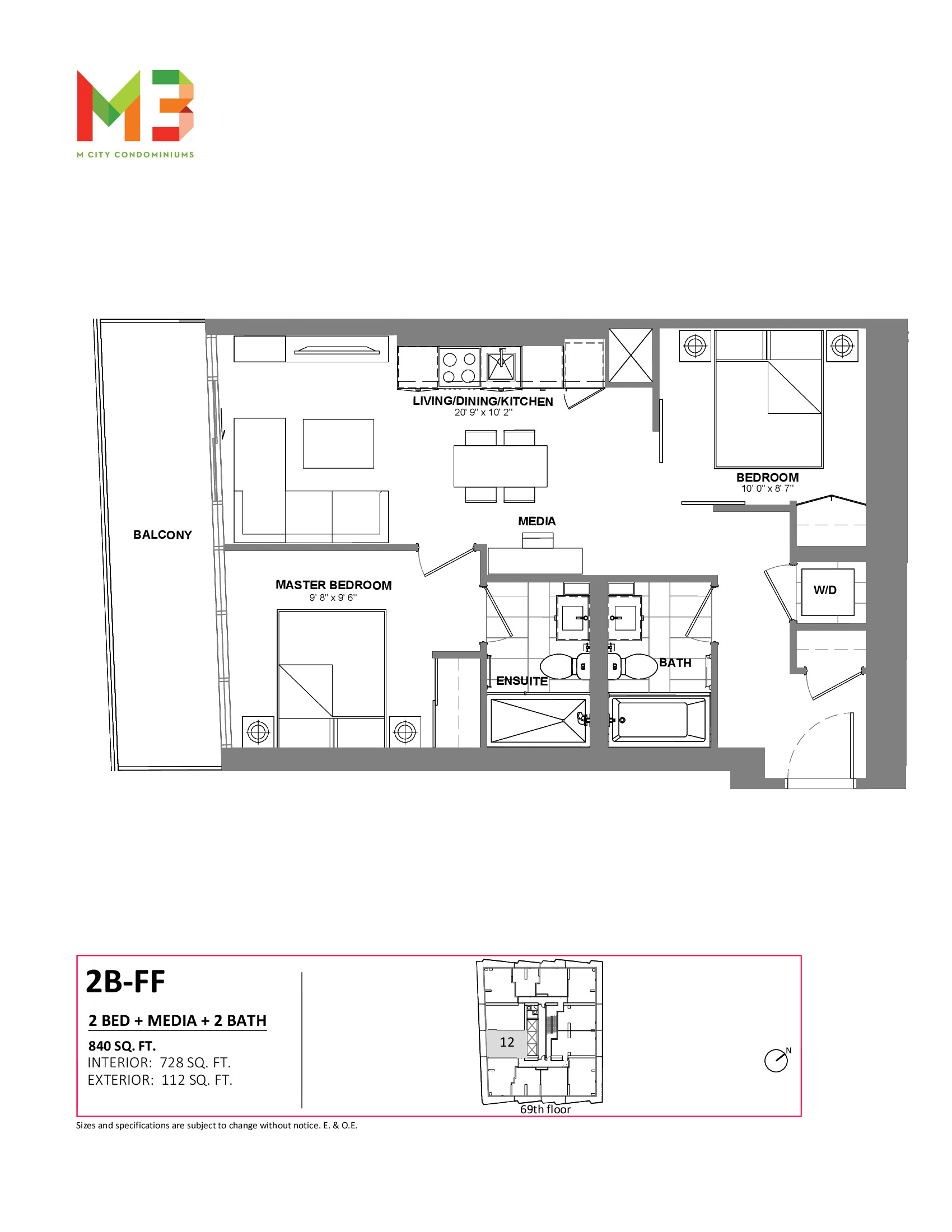 2B-FF Floor Plan at M3 Condos - 728 sq.ft