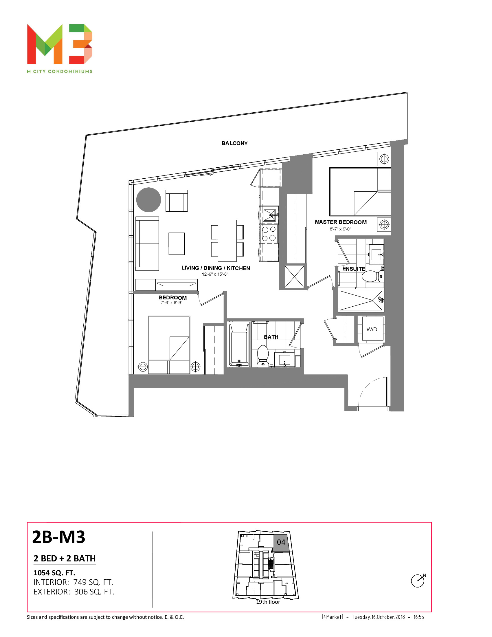2B-M3 Floor Plan at M3 Condos - 749 sq.ft