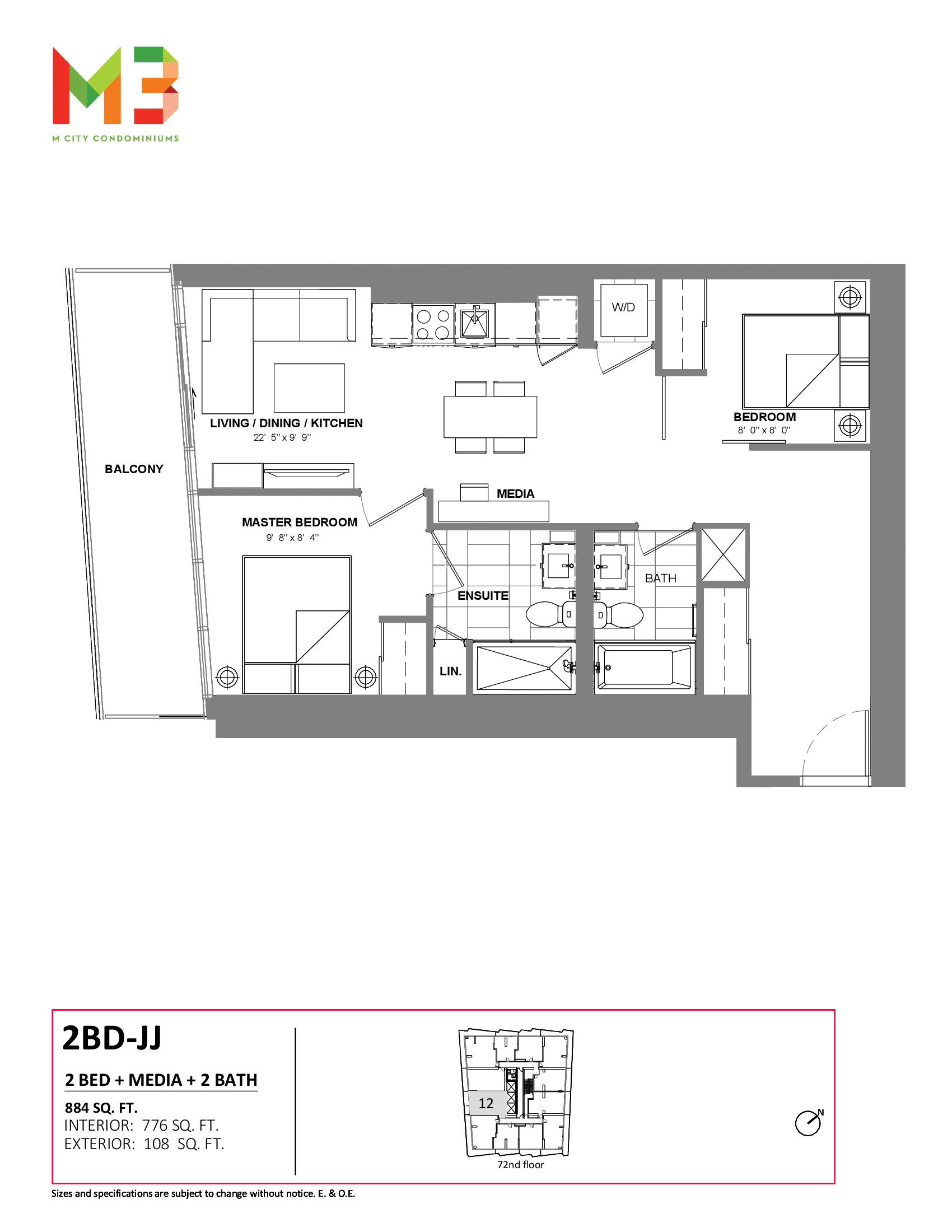2BD-JJ Floor Plan at M3 Condos - 776 sq.ft