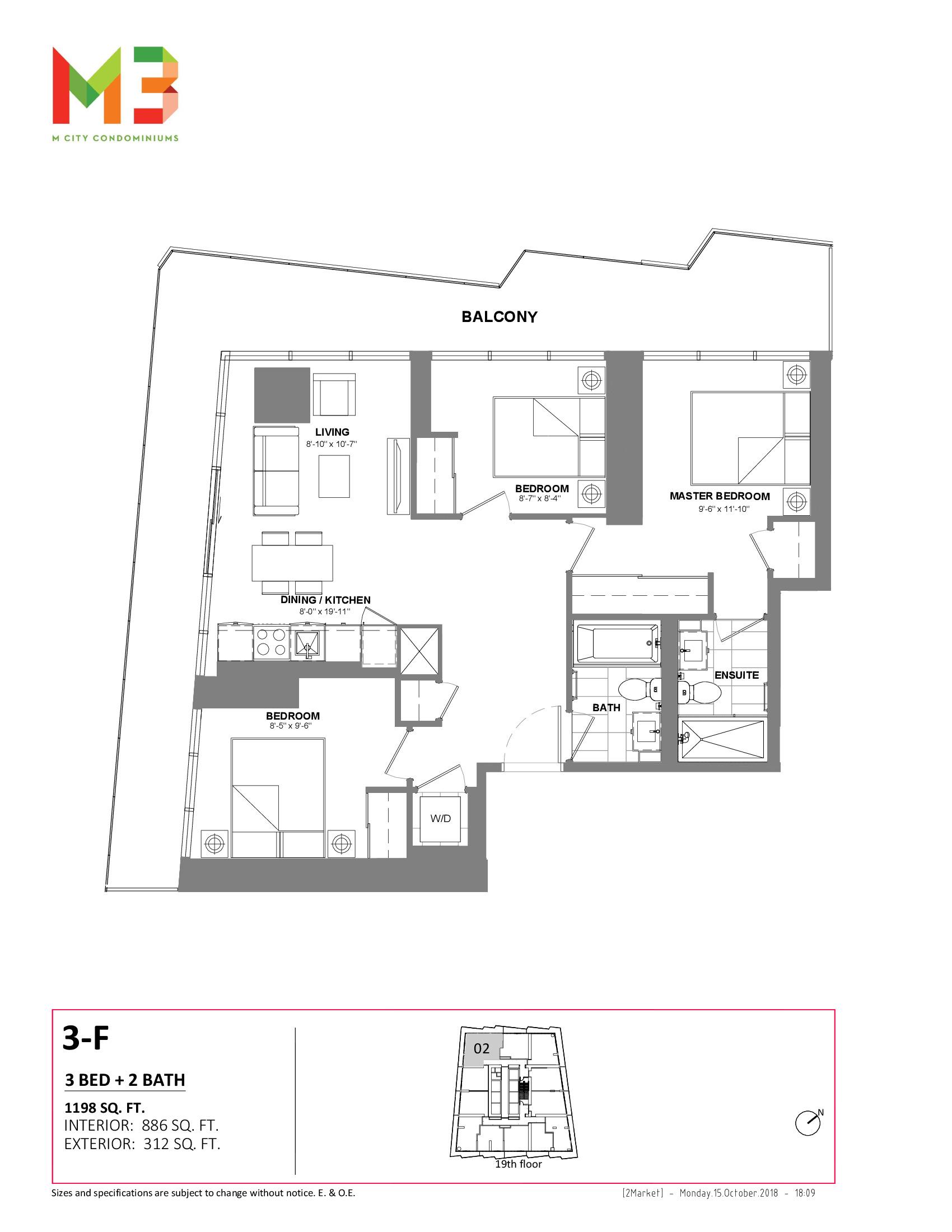 3-F Floor Plan at M3 Condos - 886 sq.ft