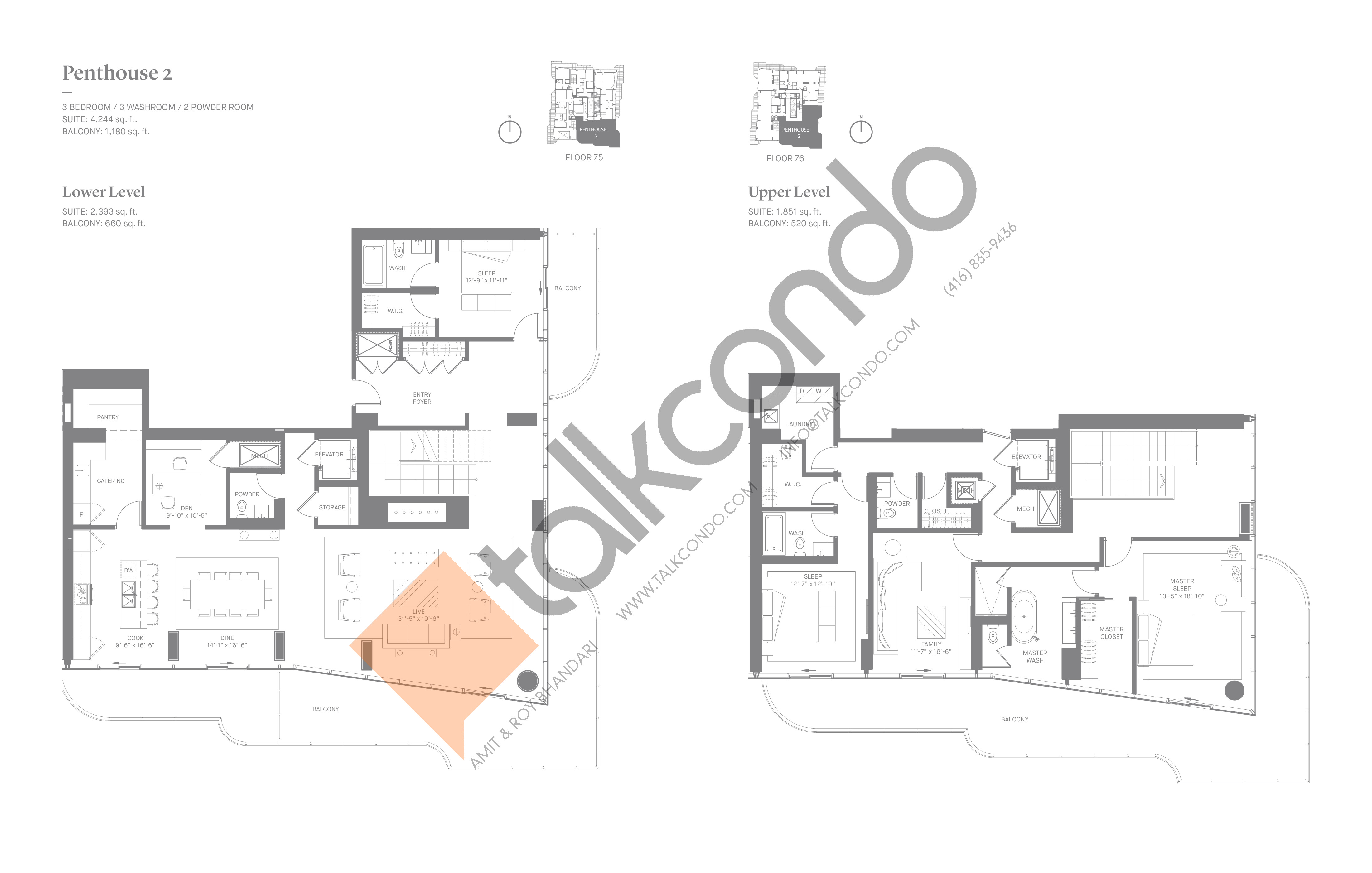 Penthouse 2 Floor Plan at One Bloor Condos - 4244 sq.ft