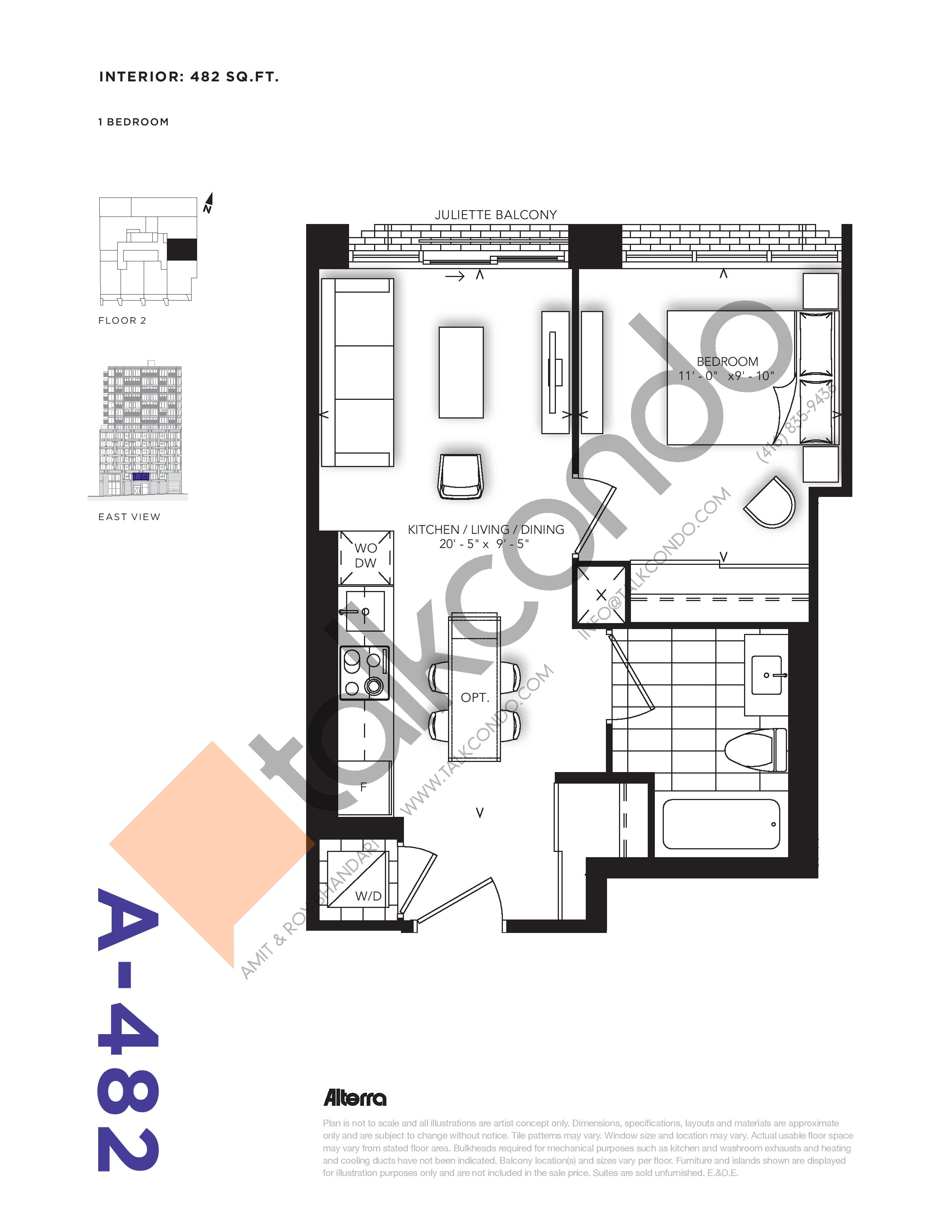 A-482 Floor Plan at RUSH Condos - 482 sq.ft