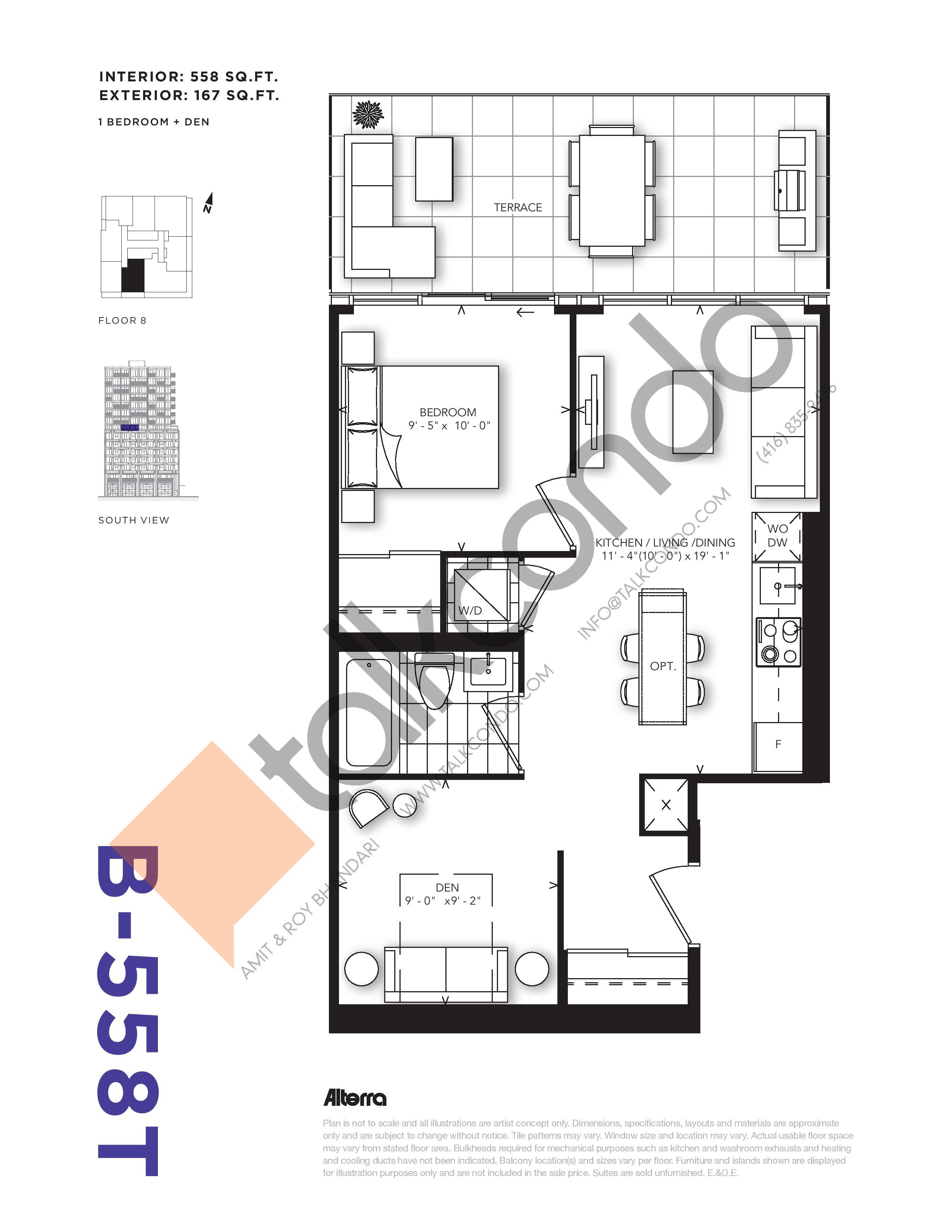 B-558T Floor Plan at RUSH Condos - 558 sq.ft