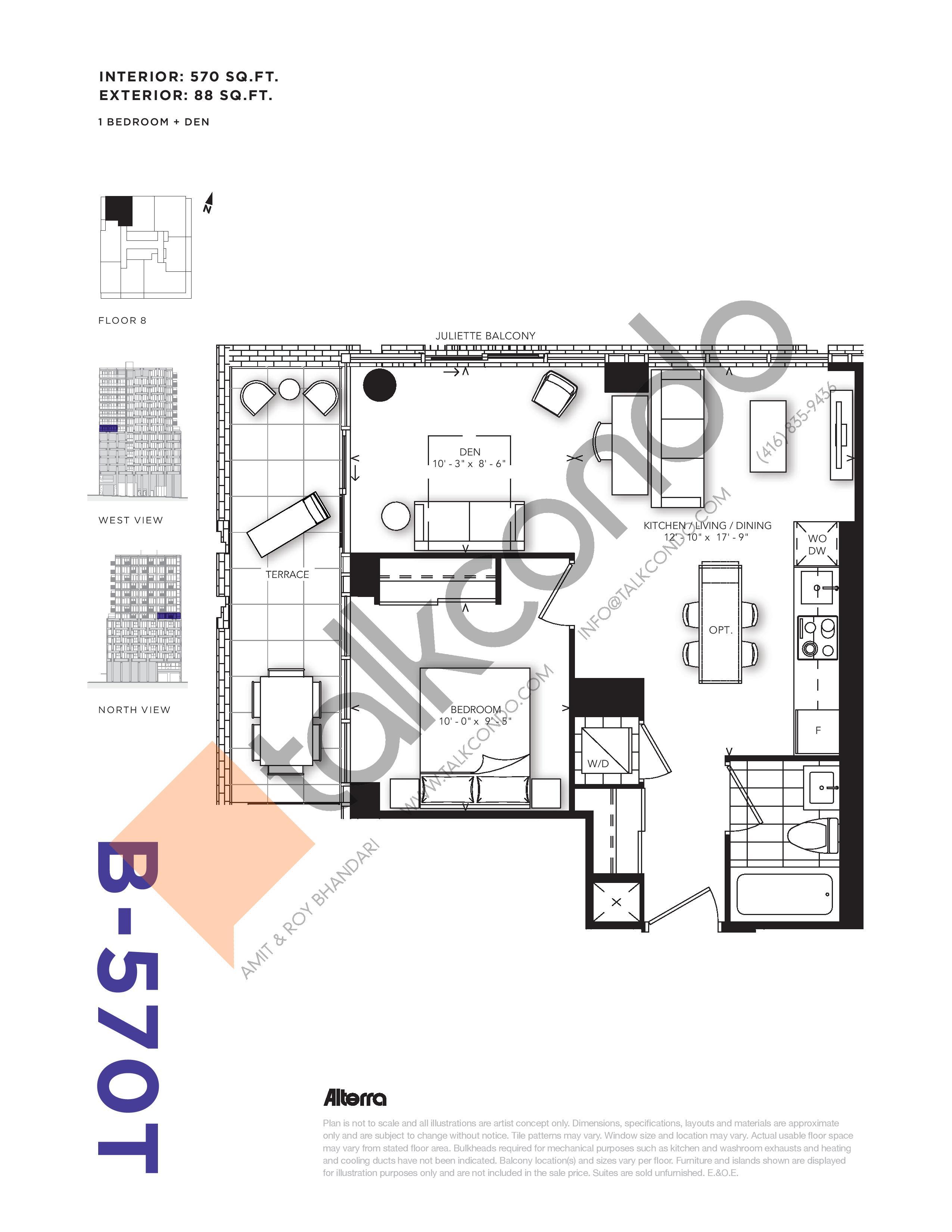 B-570T Floor Plan at RUSH Condos - 570 sq.ft