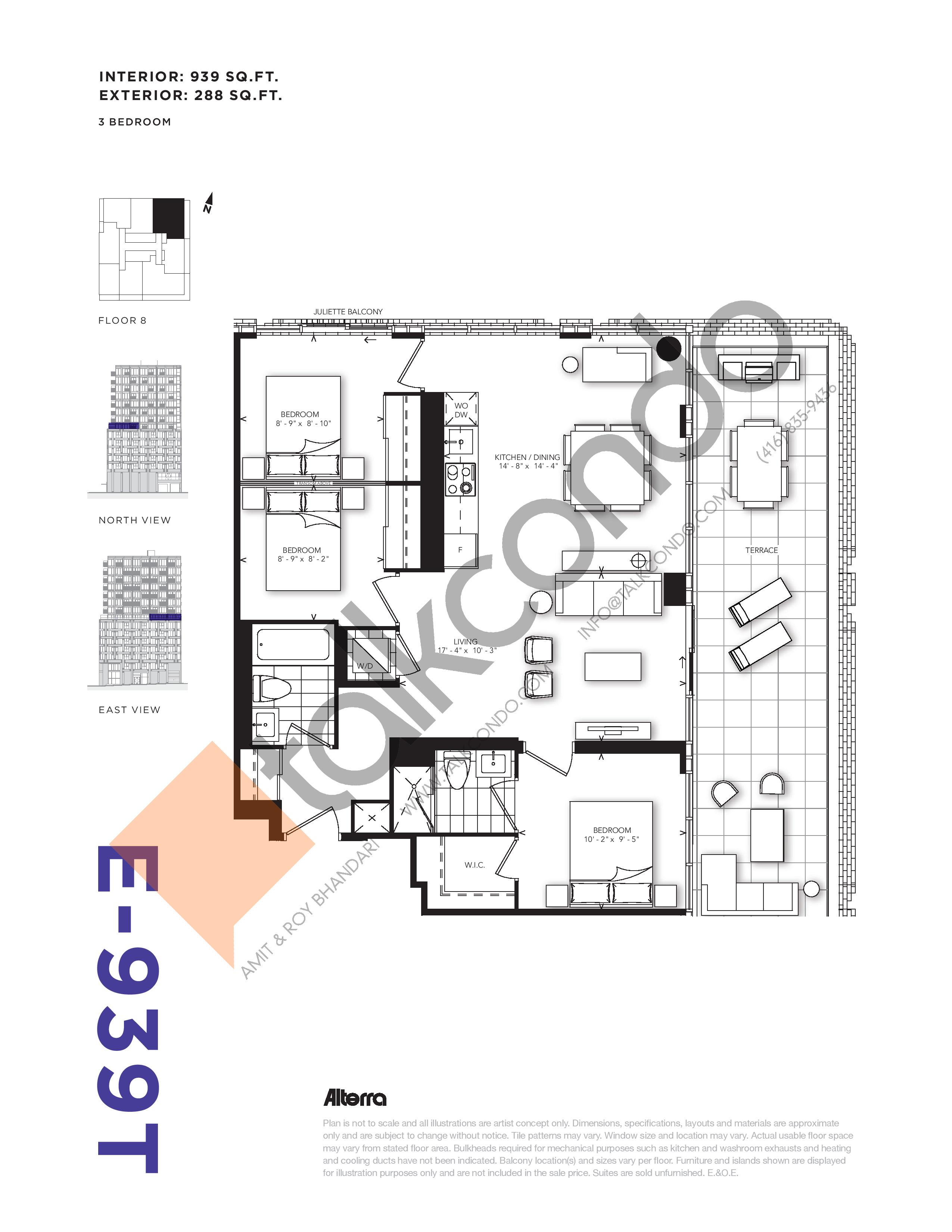 E-939T Floor Plan at RUSH Condos - 939 sq.ft