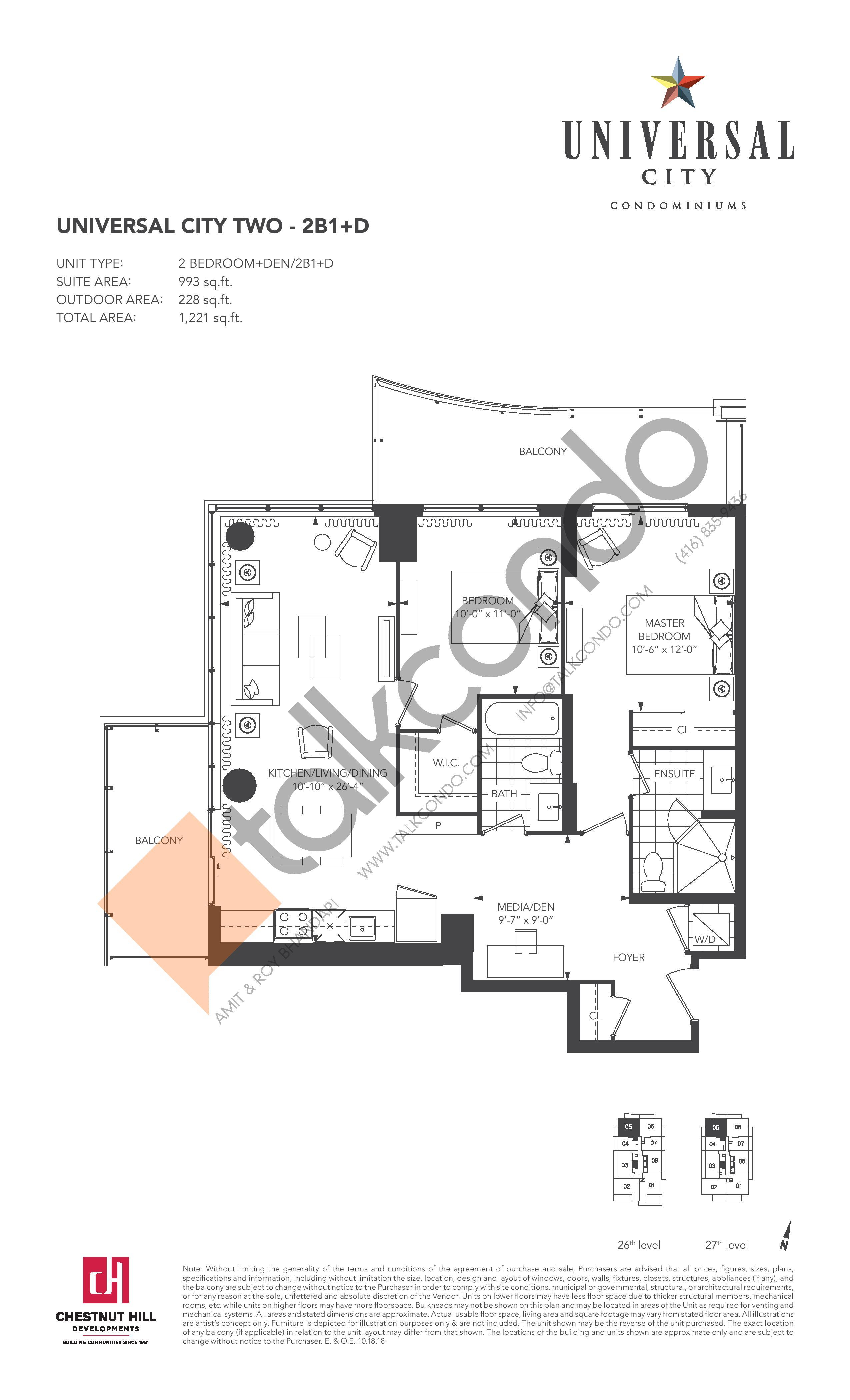 2B1+D Floor Plan at Universal City 2 Condos - 993 sq.ft