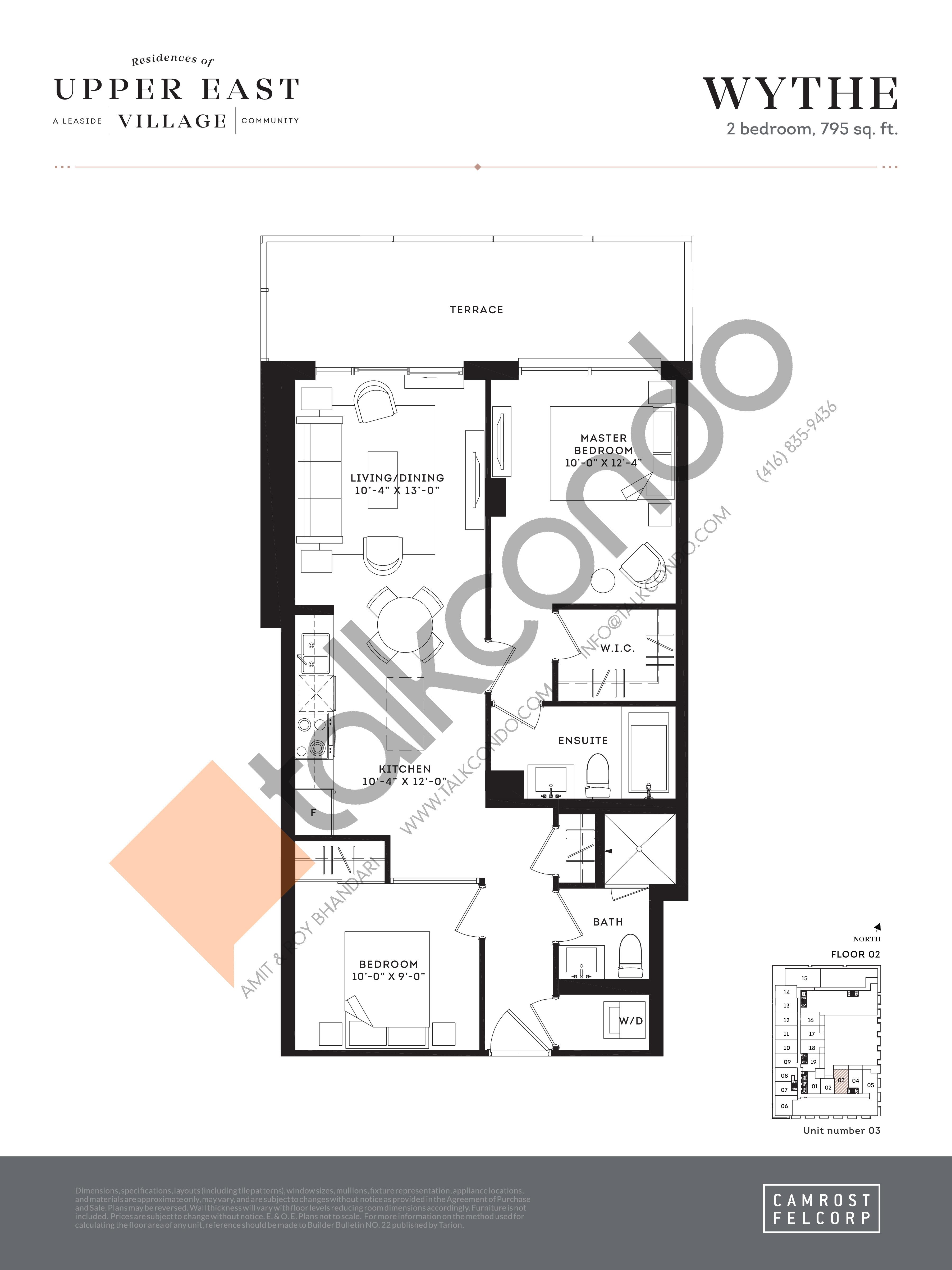 Wythe Floor Plan at Upper East Village Condos - 795 sq.ft
