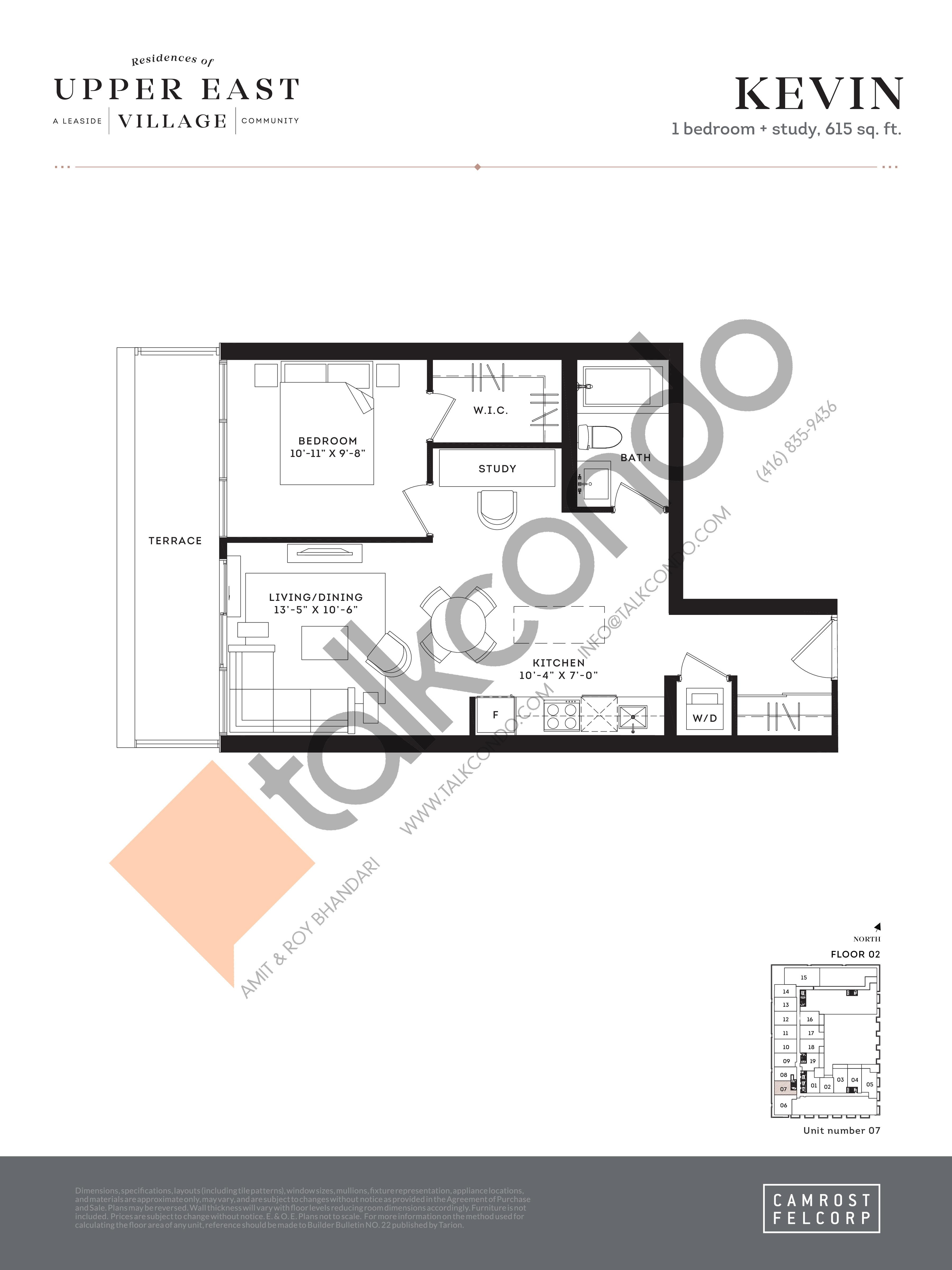Kevin Floor Plan at Upper East Village Condos - 615 sq.ft