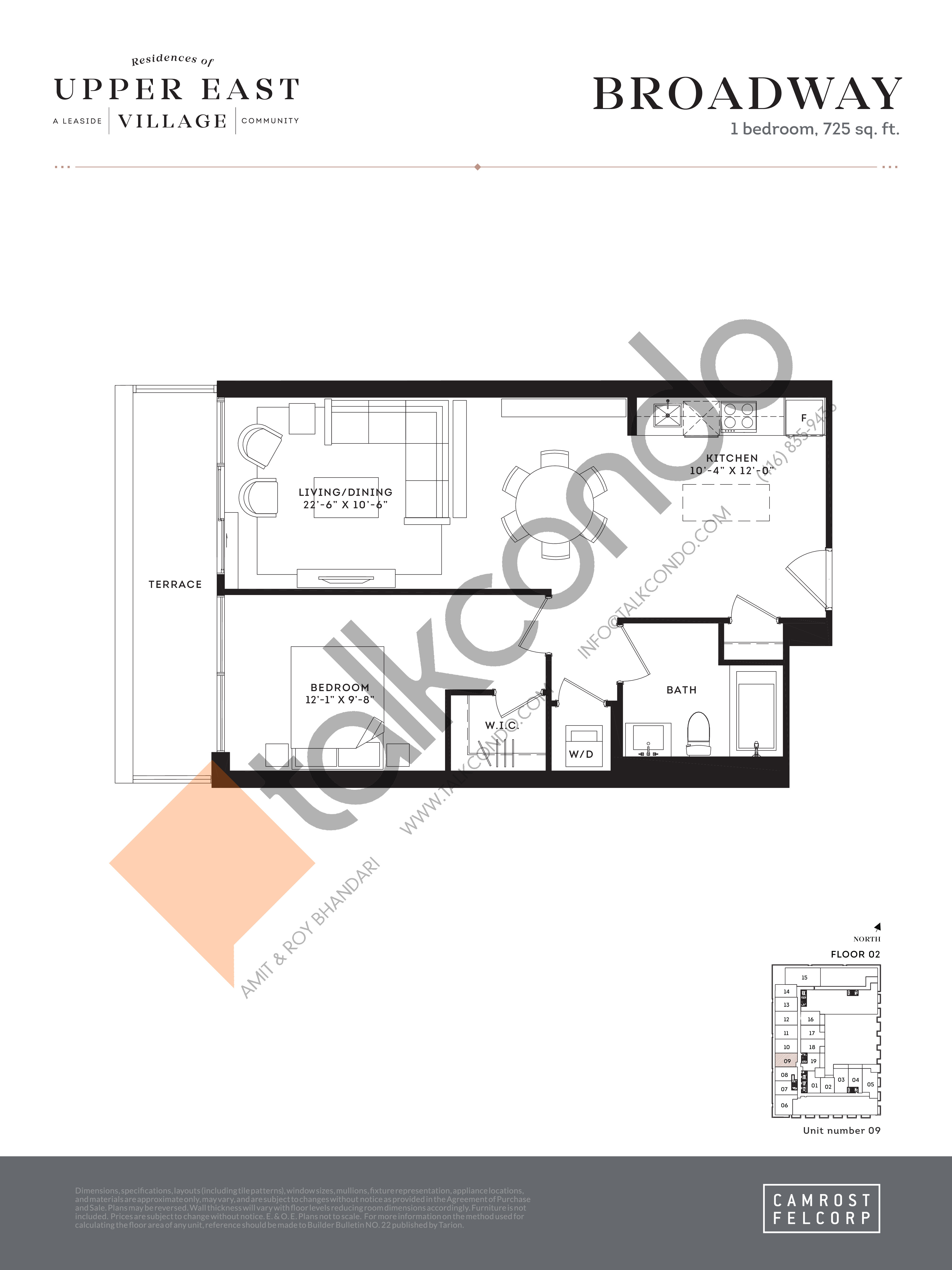 Broadway Floor Plan at Upper East Village Condos - 725 sq.ft