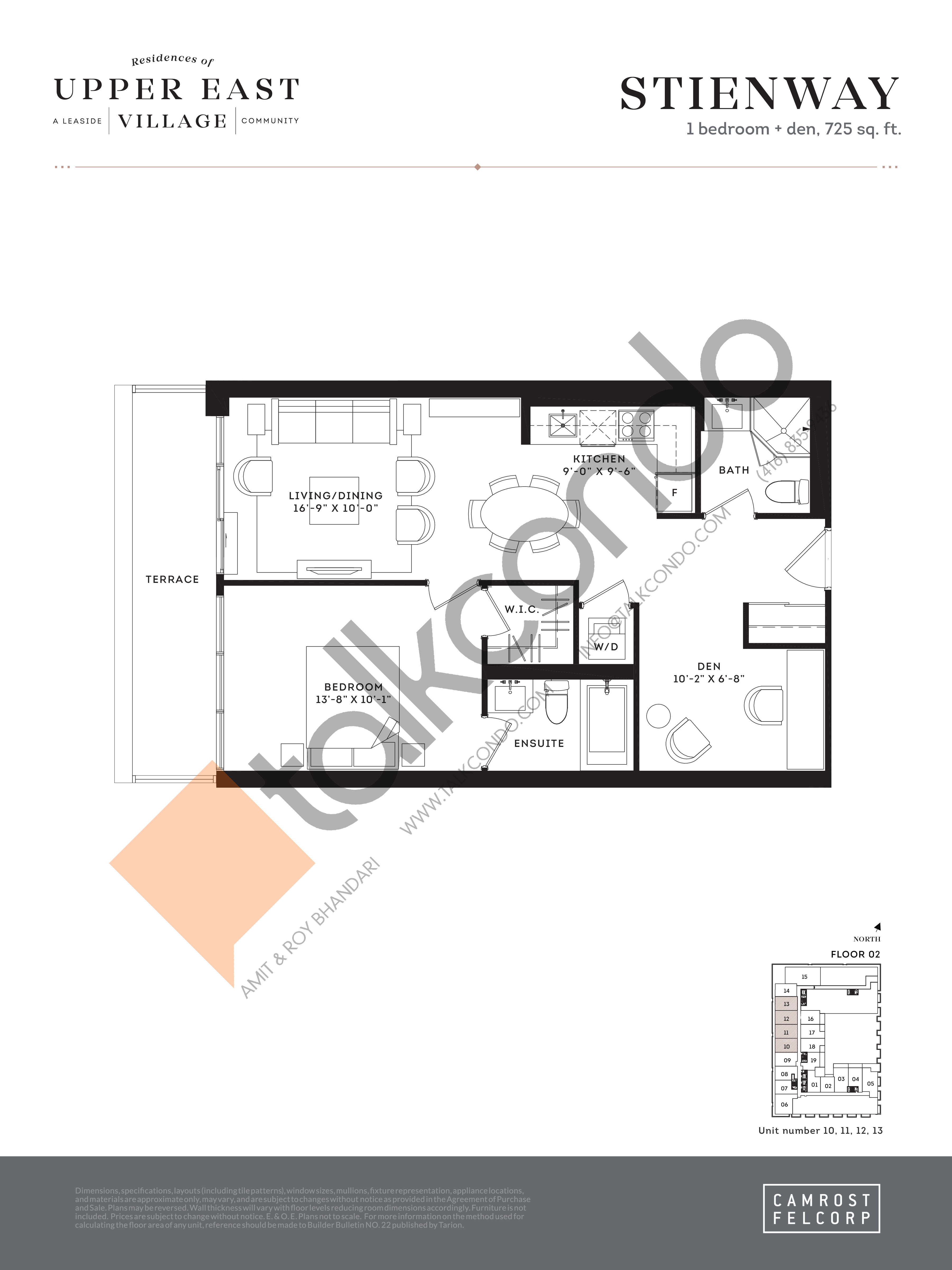 Stienway Floor Plan at Upper East Village Condos - 725 sq.ft