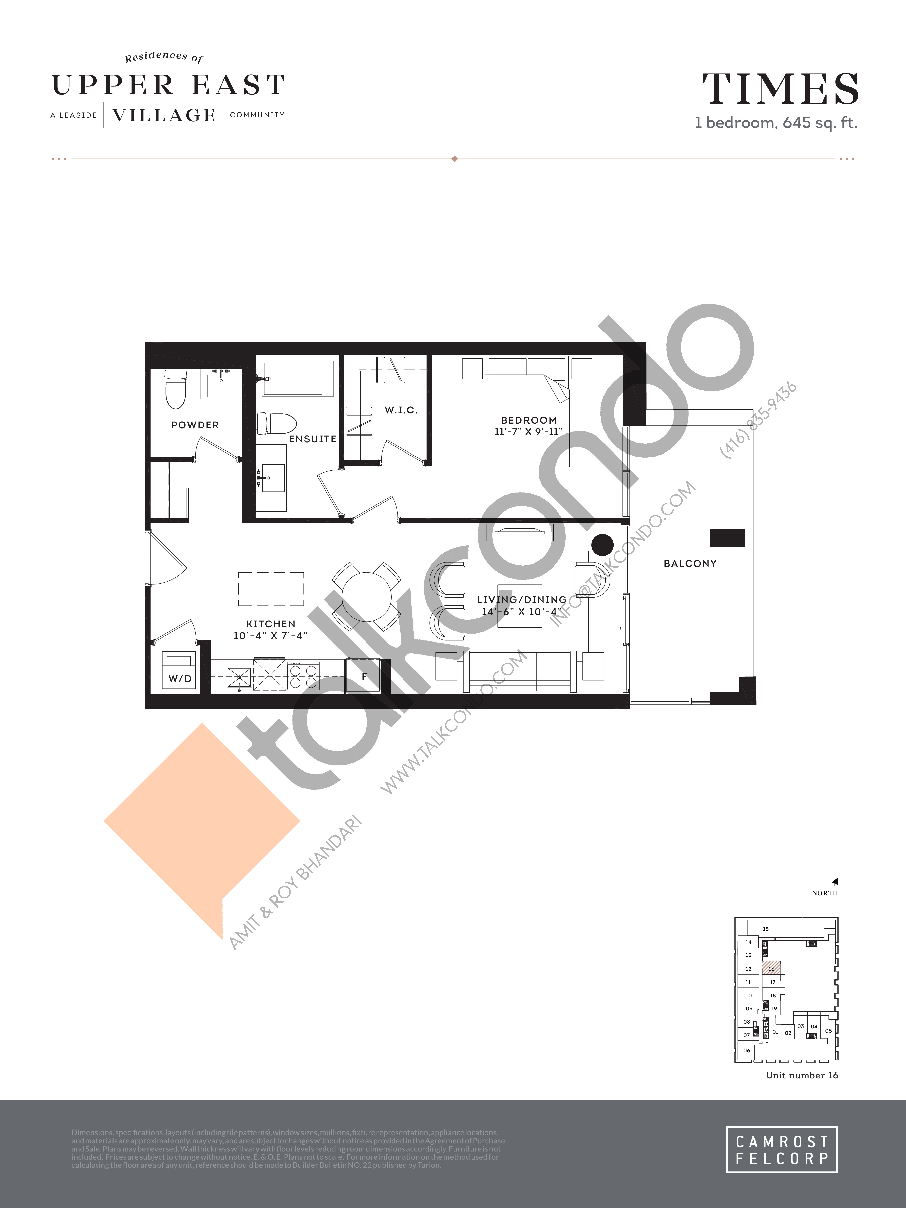 Times Floor Plan at Upper East Village Condos - 645 sq.ft