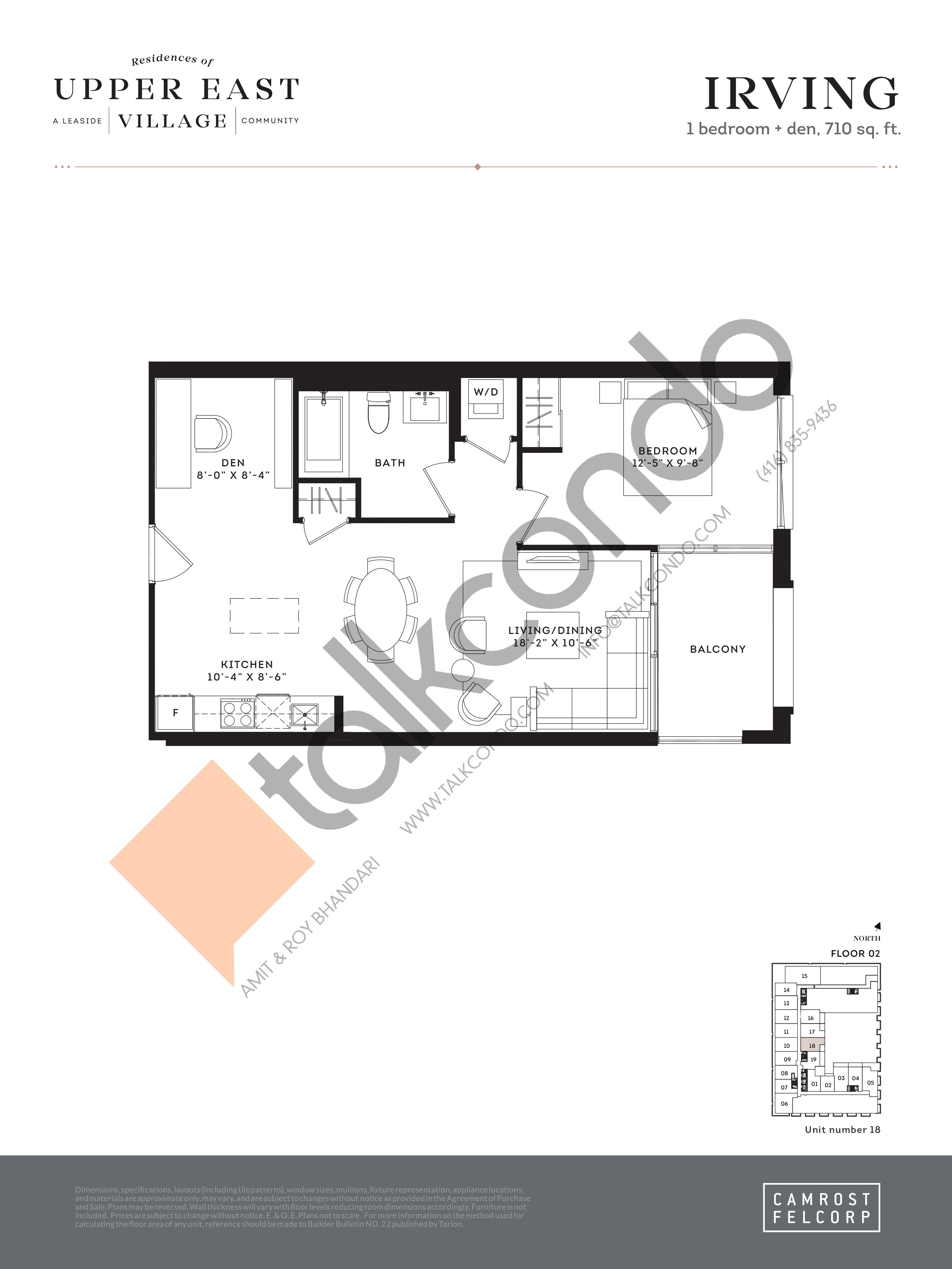 Irving Floor Plan at Upper East Village Condos - 710 sq.ft