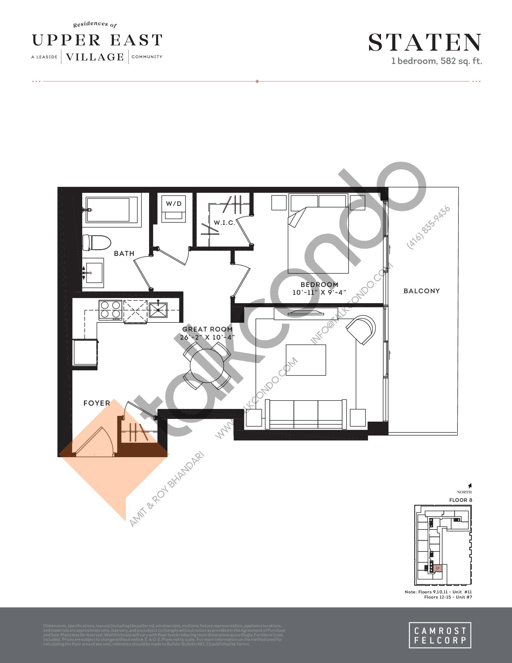 Staten Floor Plan at Upper East Village Condos - 582 sq.ft